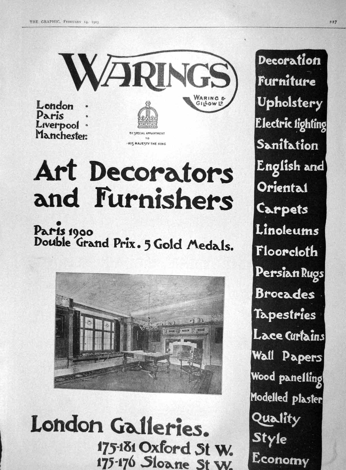 [Print 1903 Advertisement Warings Art Furnishers London 227M167 Old Original]