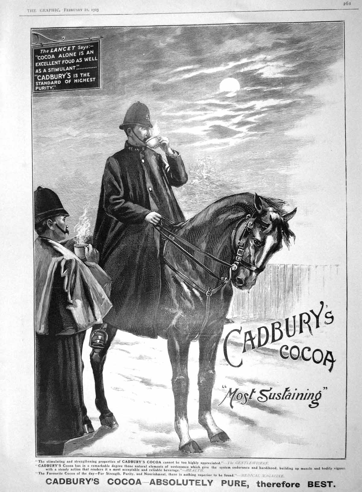 [Print 1903 Advertisement Cadbury'S Cocoa Policeman Horse 261M167 Old Original]