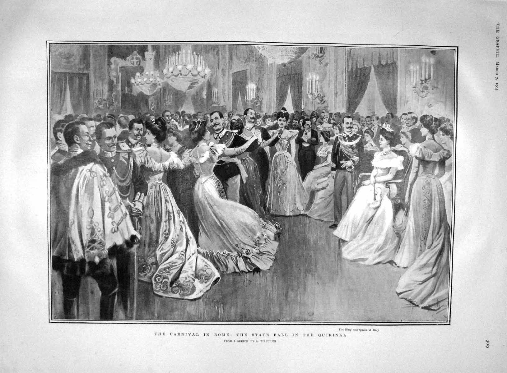 [Print 1903 Carnival Rome Ball Quirnal Teignmouth Hardcastle 309M167 Old Original]