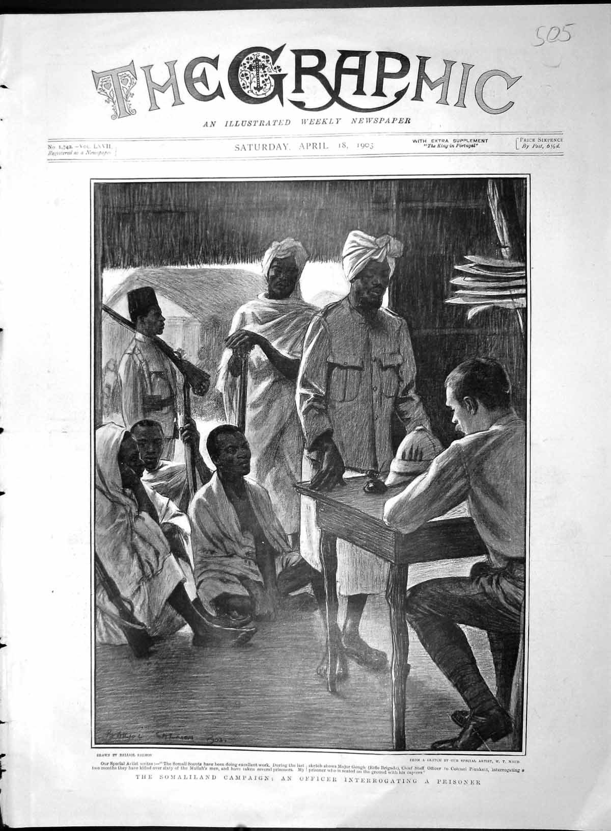[Print 1903 Somaliland Scouts Major Gough Fire Camp Soldiers 505M167 Old Original]