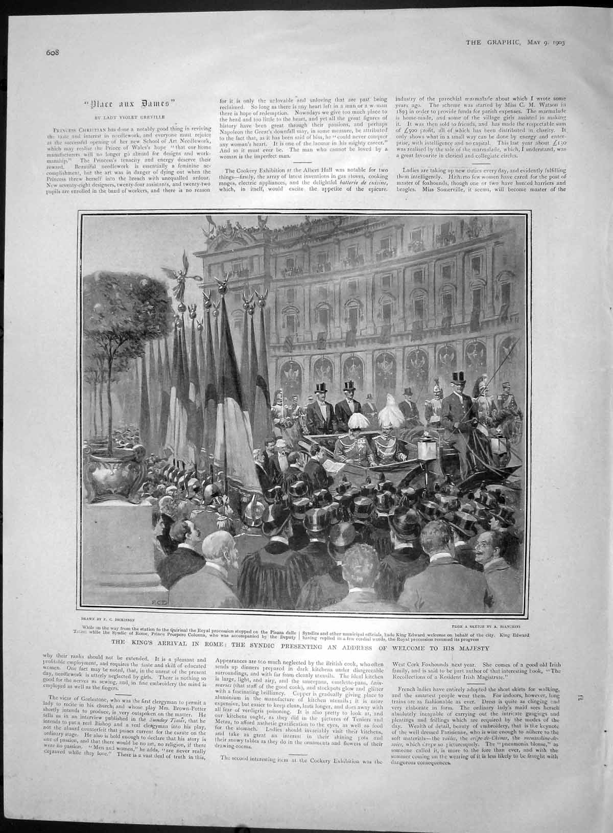 [Print 1903 King Edward Rome Syndic Piazza Delle Terme Italy 608M167 Old Original]