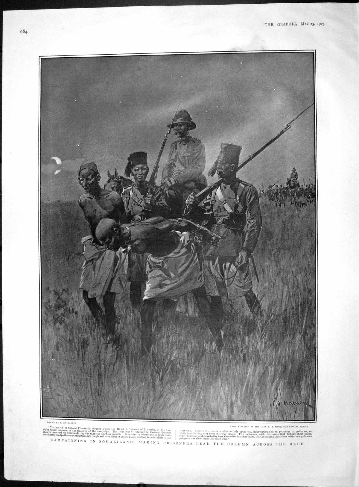 [Print 1903 Somaliland Colonel Plunkett Haud King Glasgow 684M167 Old Original]