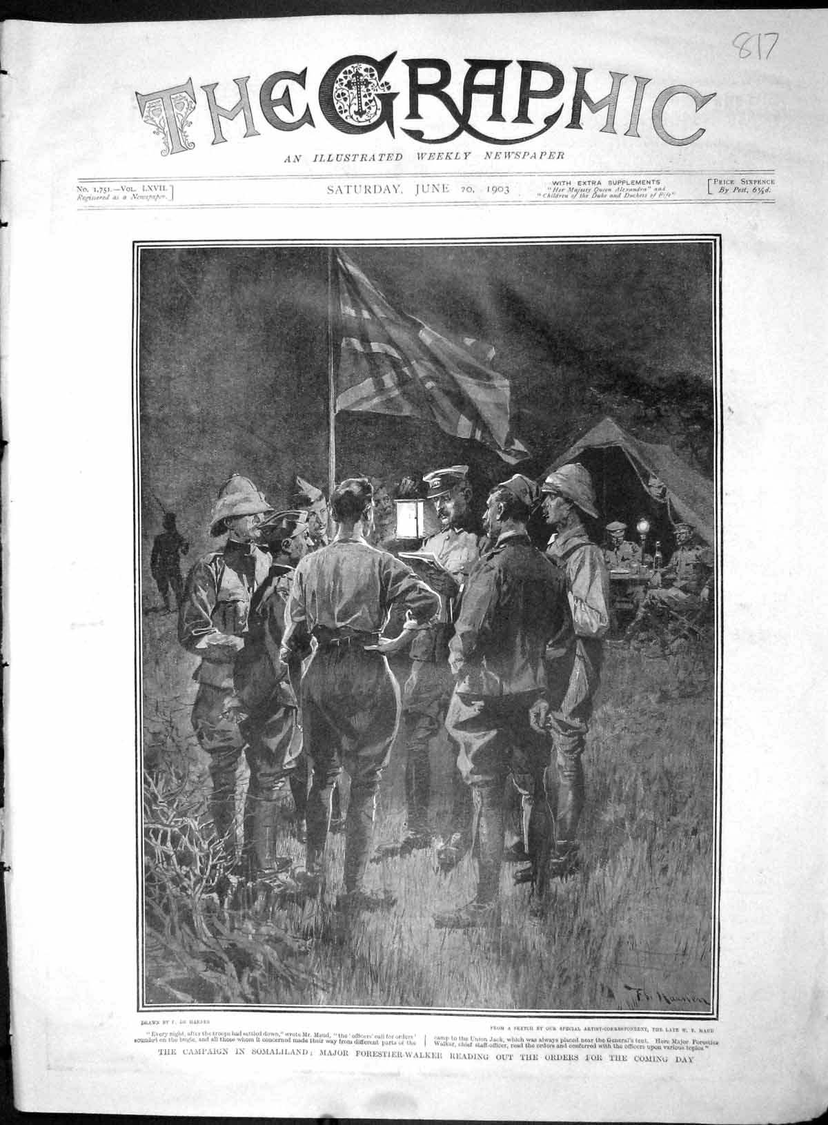 [Print 1903 Somaliland Major Forestier-Walker Maud Soldiers 817M167 Old Original]
