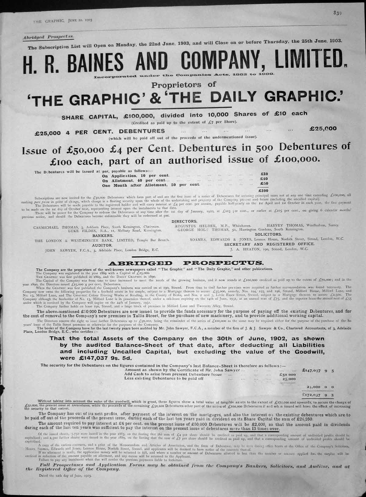 [Print 1903 Advertisement Baines Company Daily Graphic 839M167 Old Original]
