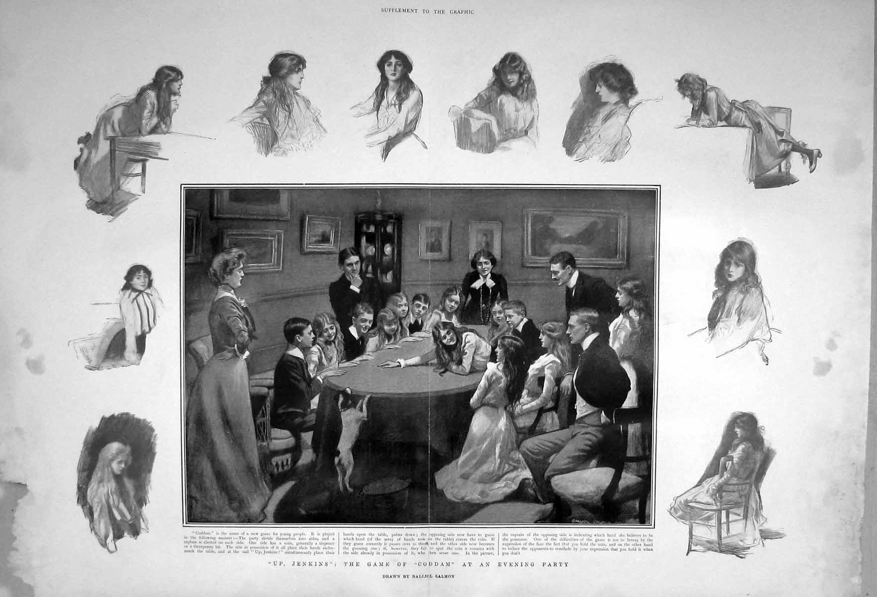 [Print 1903 Coddam Evening Party Game Children Jenkins Dog 908Tm167 Old Original]