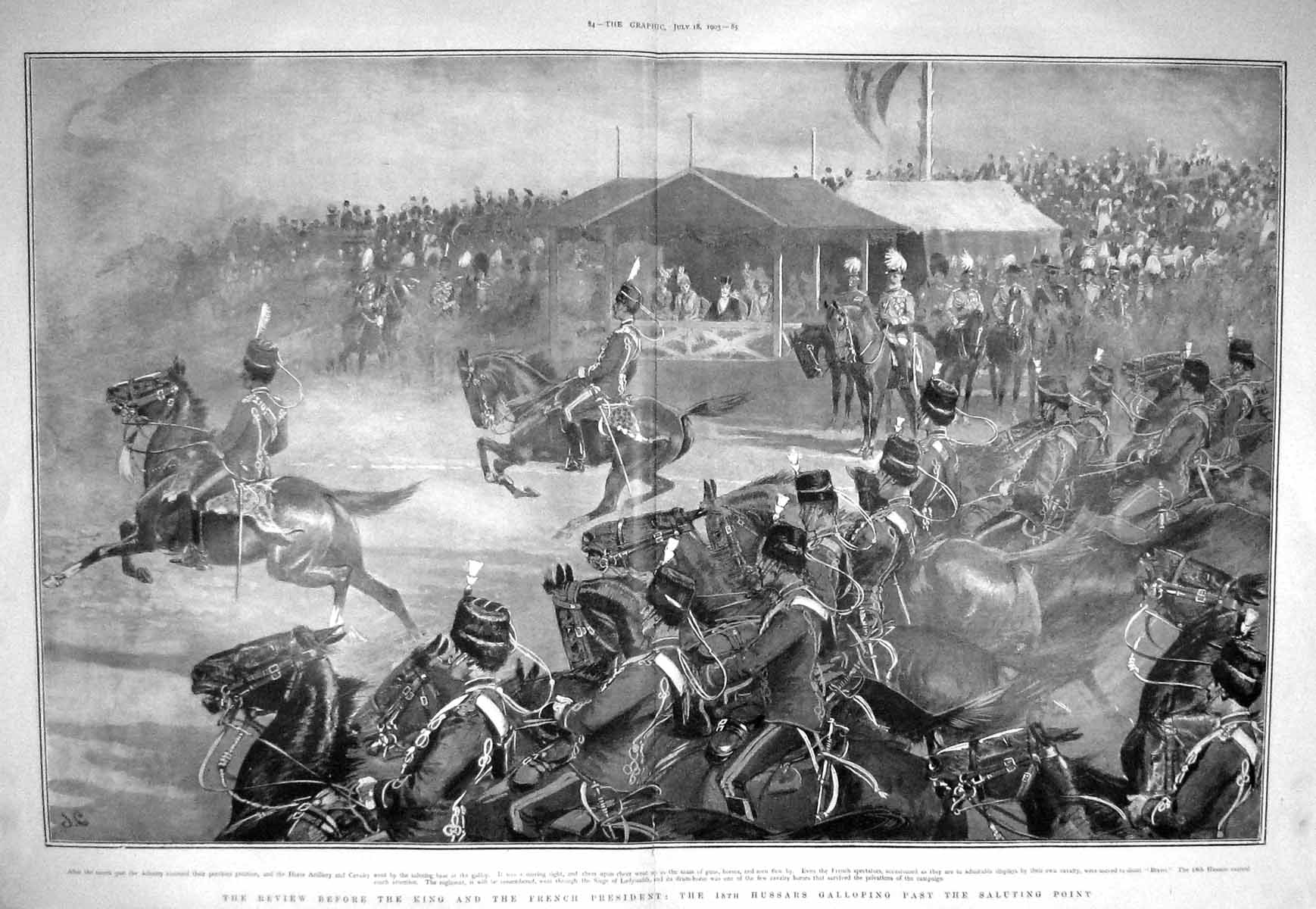 [Print 1903 Soldiers Review King French President Hussars War 083Tm168 Old Original]