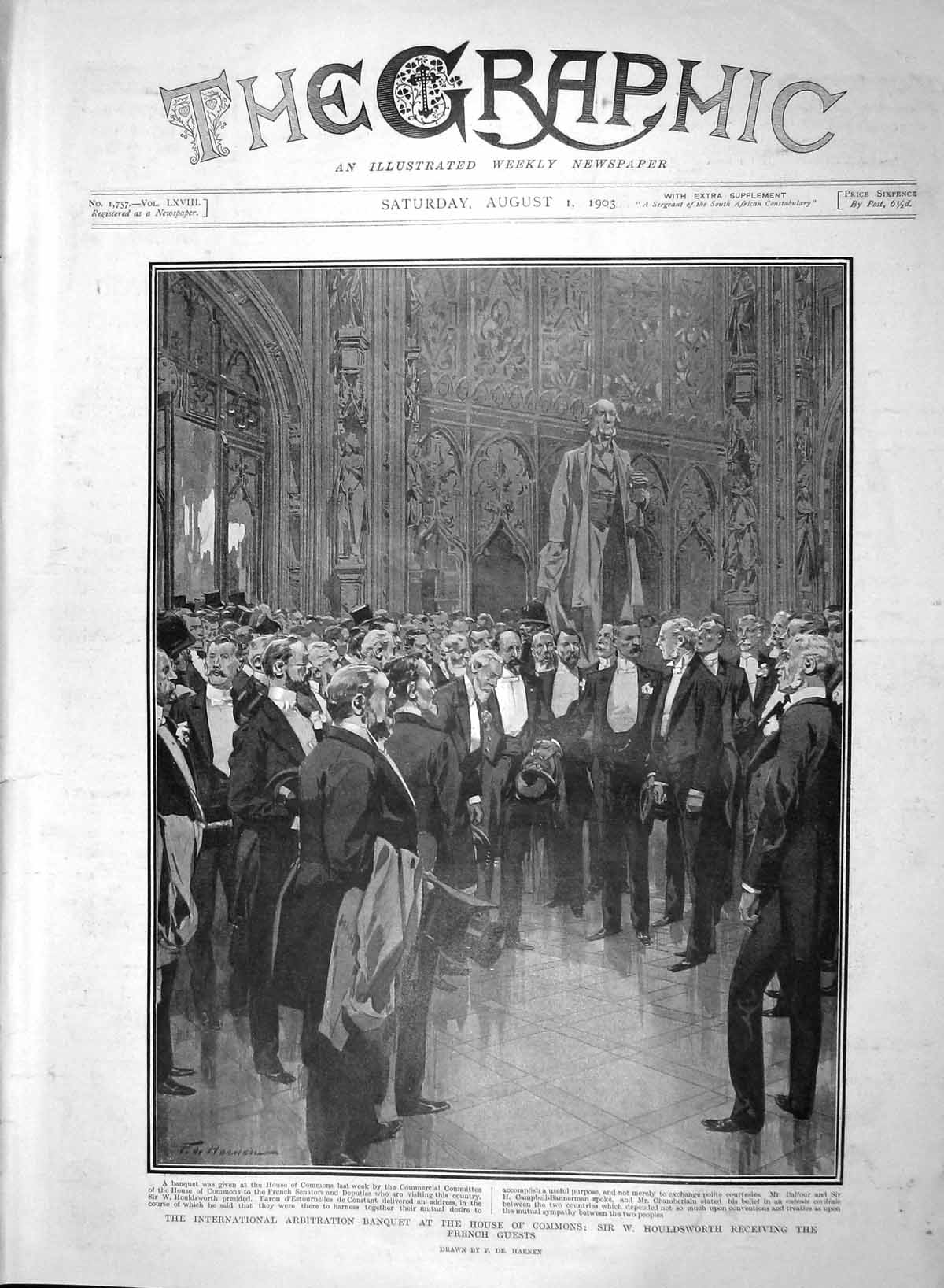 [Print 1903 Arbitration Banquet House Commons Houldsworth 137M168 Old Original]