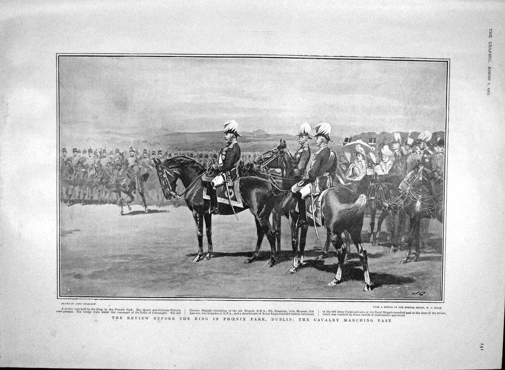 [Print 1903 Phoenix Park Ireland Soldiers Nelson Pillar School 141M168 Old Original]