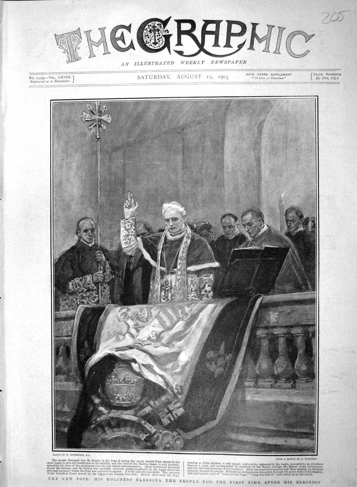 [Print 1903 Holiness Pope St. Peters Blessing People Vatican 205M168 Old Original]