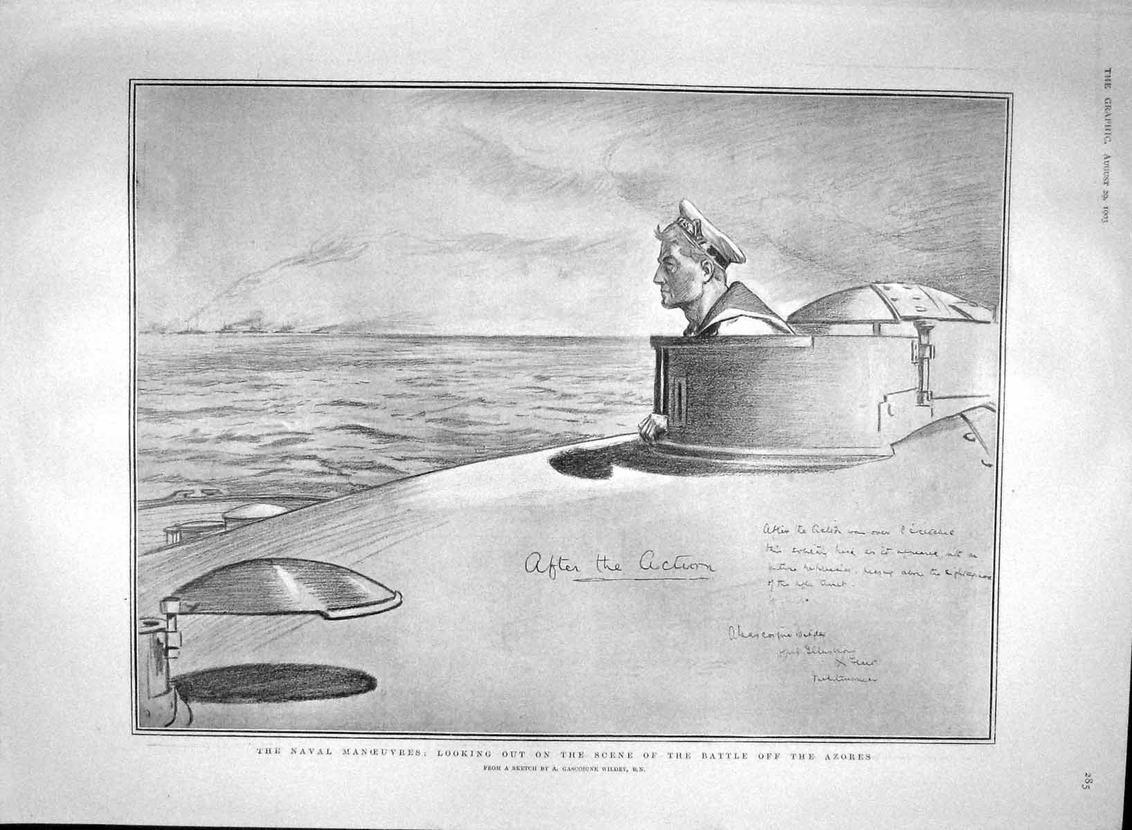 [Print 1903 Navy Submarine Battle Azores America Cup Reliance 285M168 Old Original]