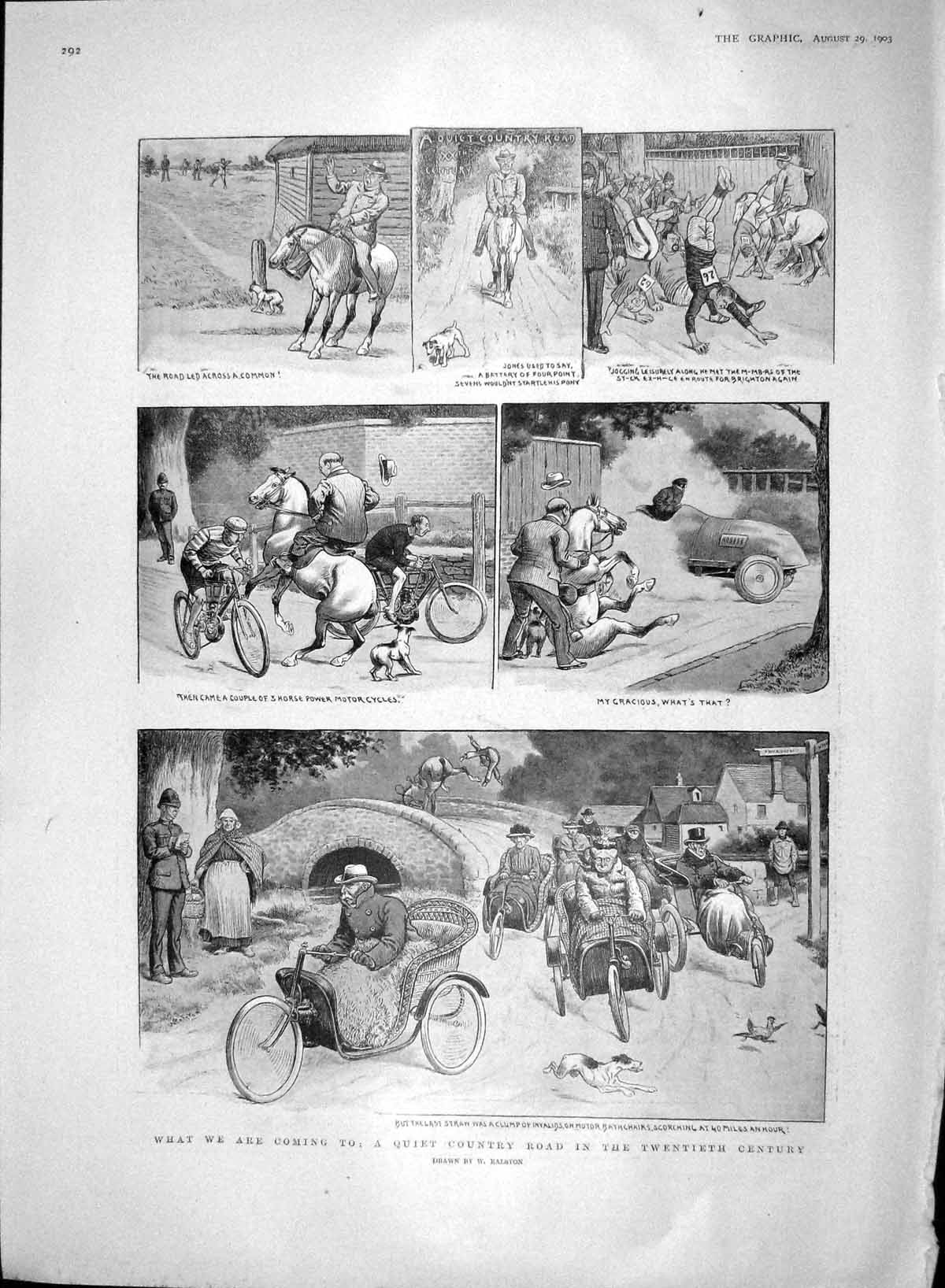 [Print 1903 Country Road Transport Battle Abbey Hotham Bourne 292M168 Old Original]