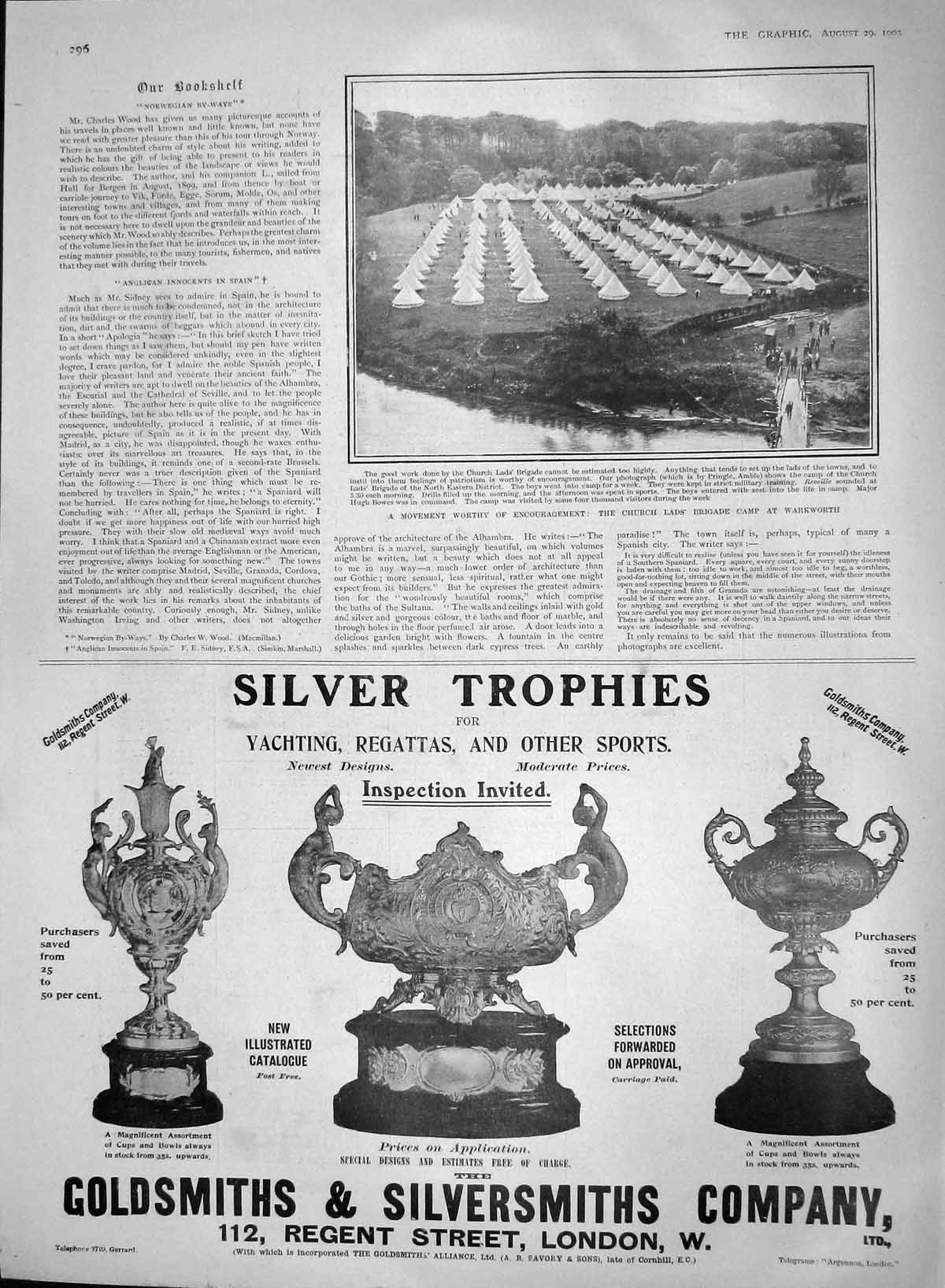[Print 1903 Church Ladss Brigade Warkworth Silver Trophies 296M168 Old Original]