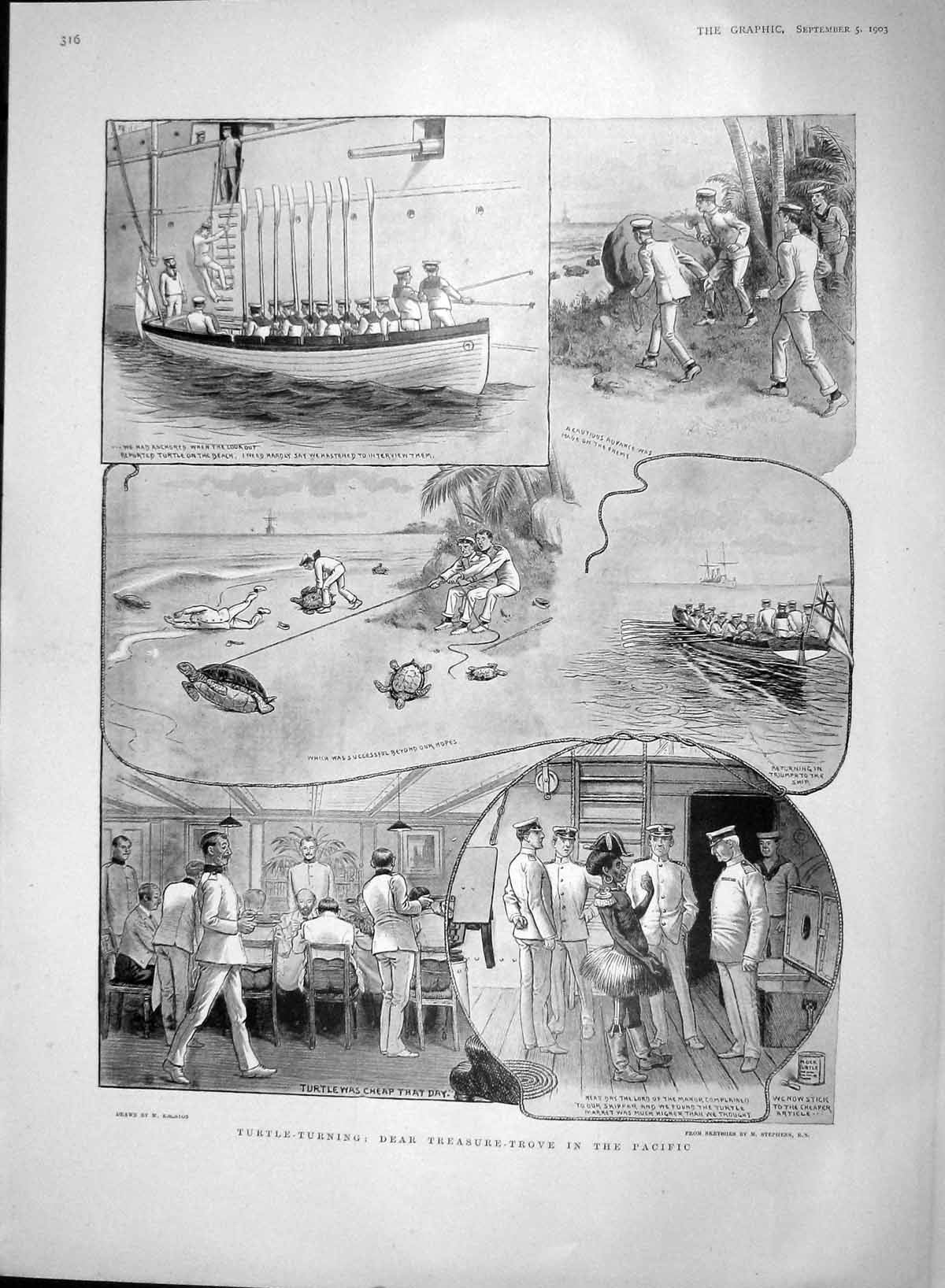 [Print 1903 Turtle Turning Navy Ships Pacific Sailors War 316M168 Old Original]