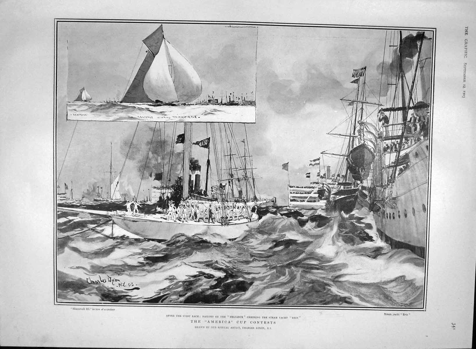 [Print 1903 America Cup Reliance Erin Yacht Shamrock Race 341M168 Old Original]