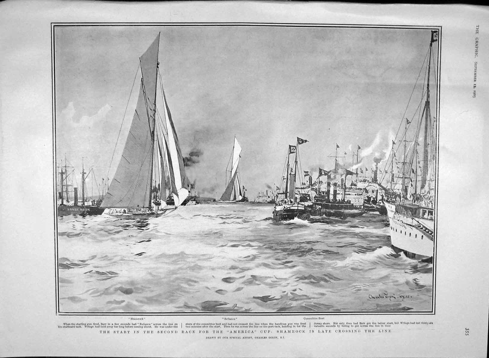 [Print 1903 Yacht Race America Cup Shamrock Reliance Sport 355M168 Old Original]