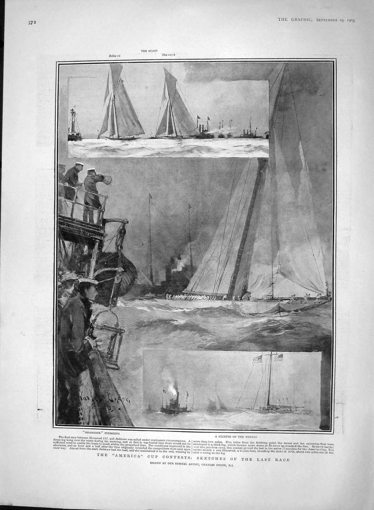 [Print 1903 America Cup Yacht Race Shamrock Reliance Sport 372M168 Old Original]