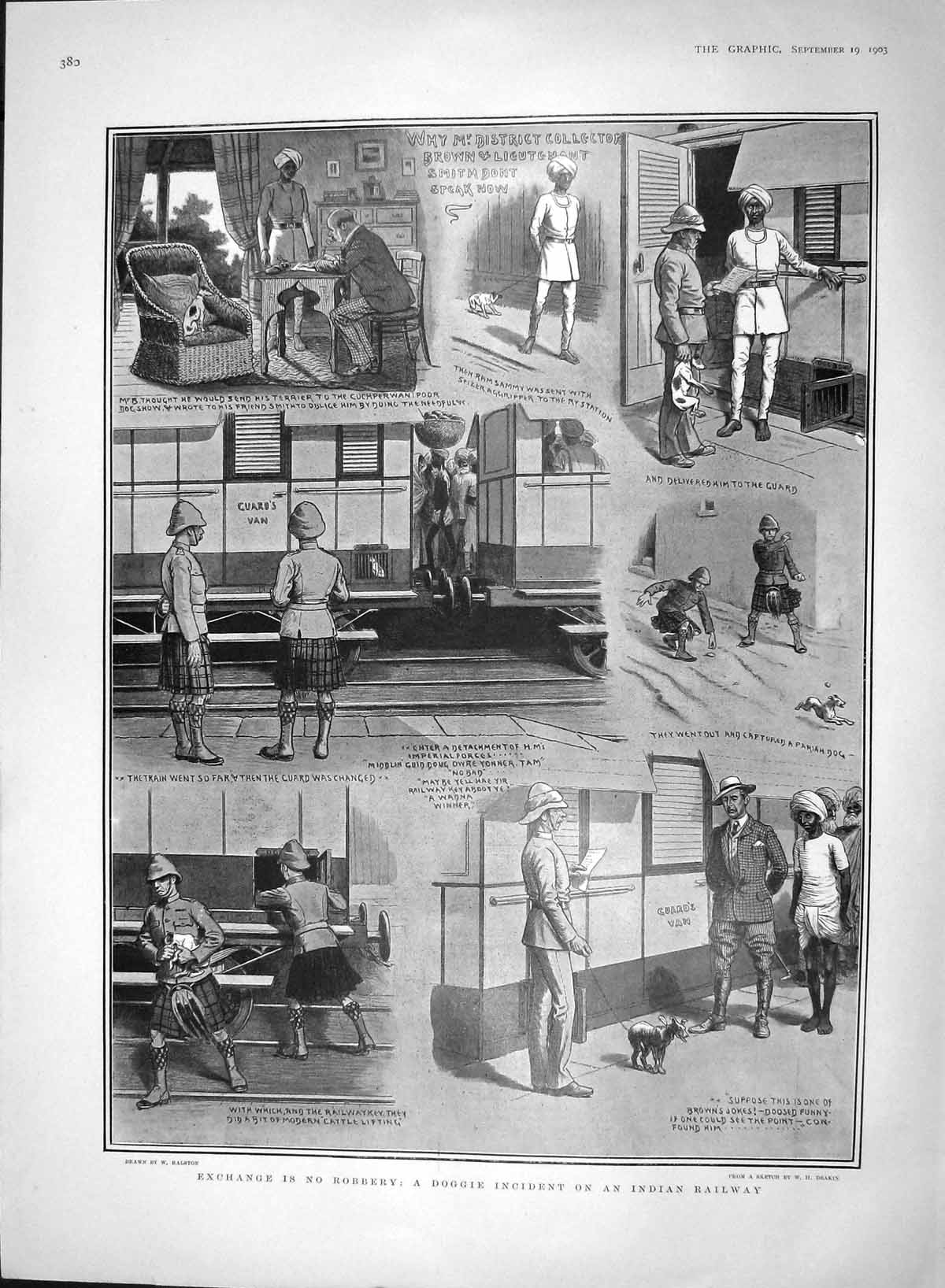 [Print 1903 Pet Dogs Indian Railway Train Brown Smith Robbery 380M168 Old Original]