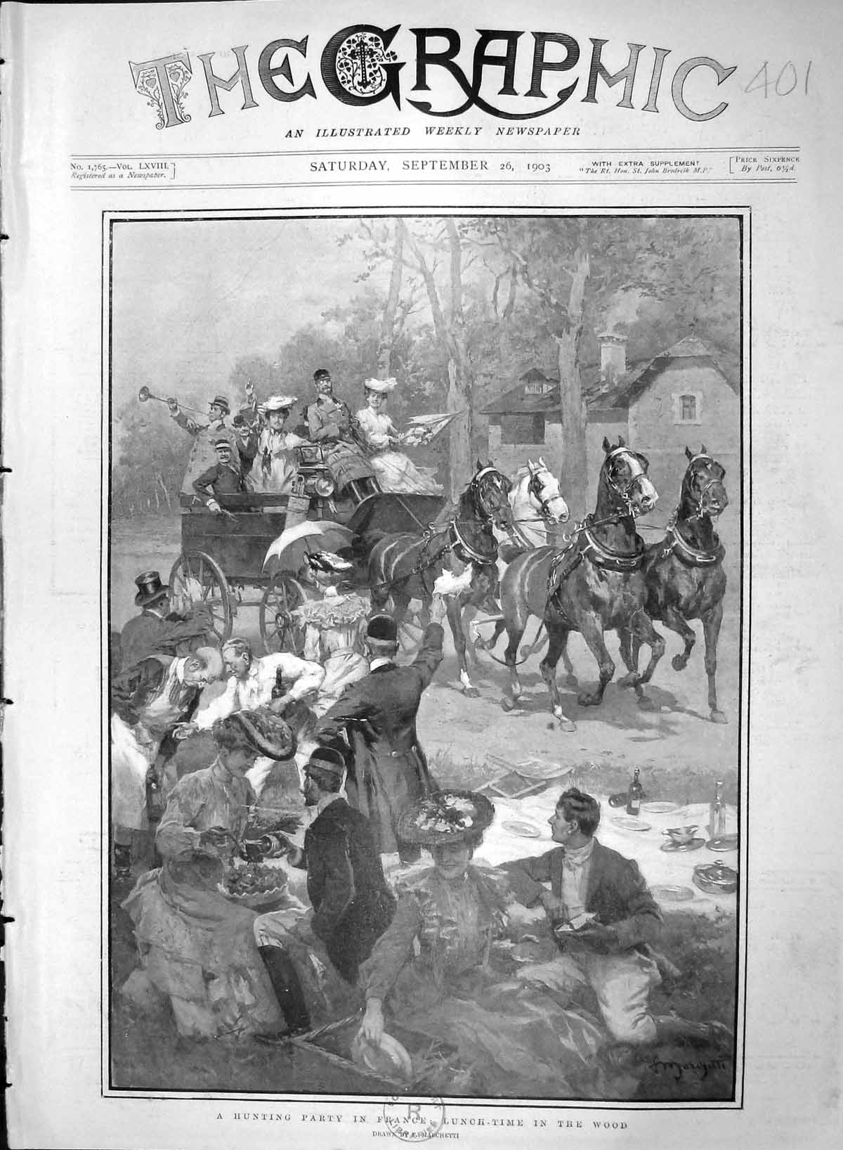 [Print 1903 Hunting Party France Lunch Time Wood Picnic Scene 401M168 Old Original]