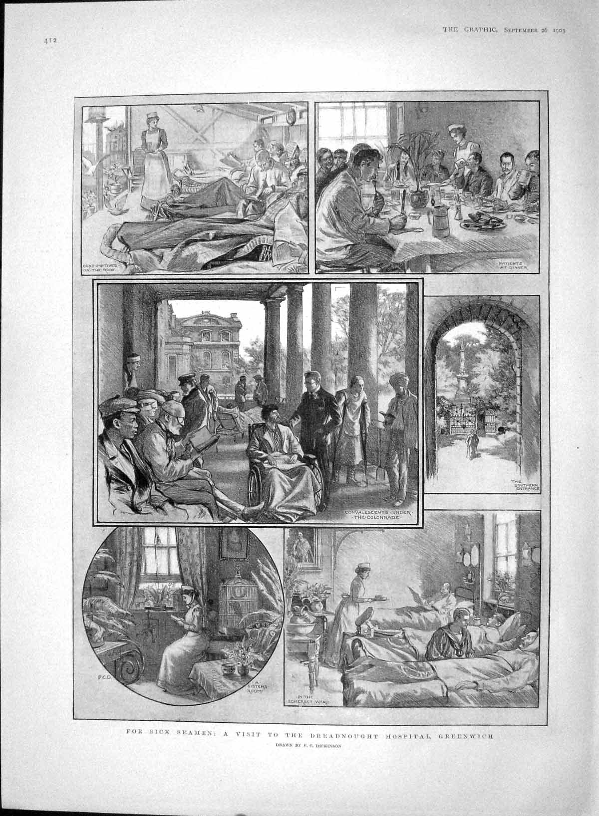 [Print 1903 Dreadnought Hospital Greenwich Sick Seamen 412M168 Old Original]