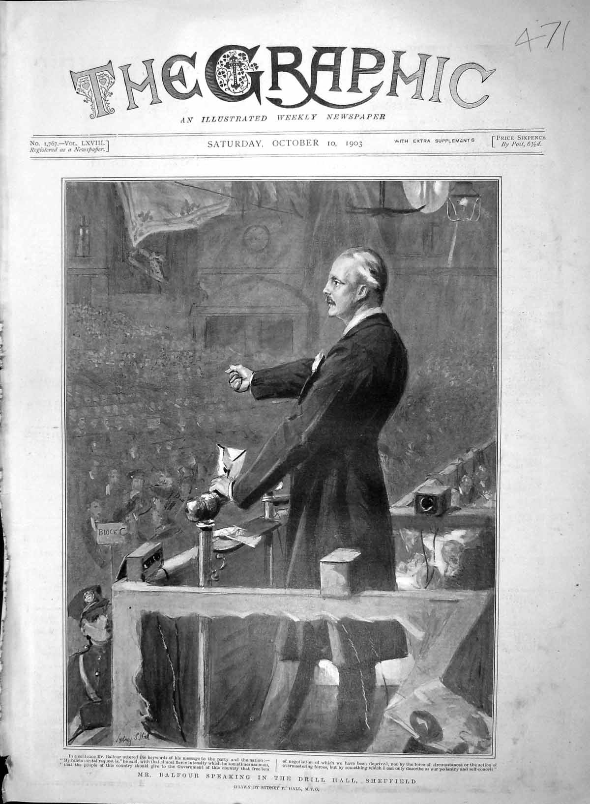 [Print 1903 Mr Balfour Speaking Drill Hall Sheffield England 471M168 Old Original]