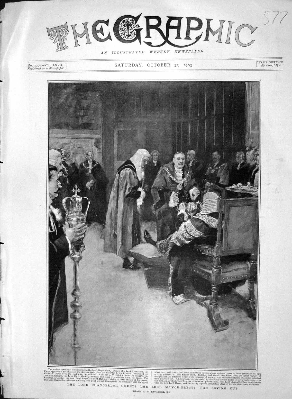 [Print *3366 1903 Lord Chancellor Greets Mayor-Elect Loving Cup 577M168 Old Original]