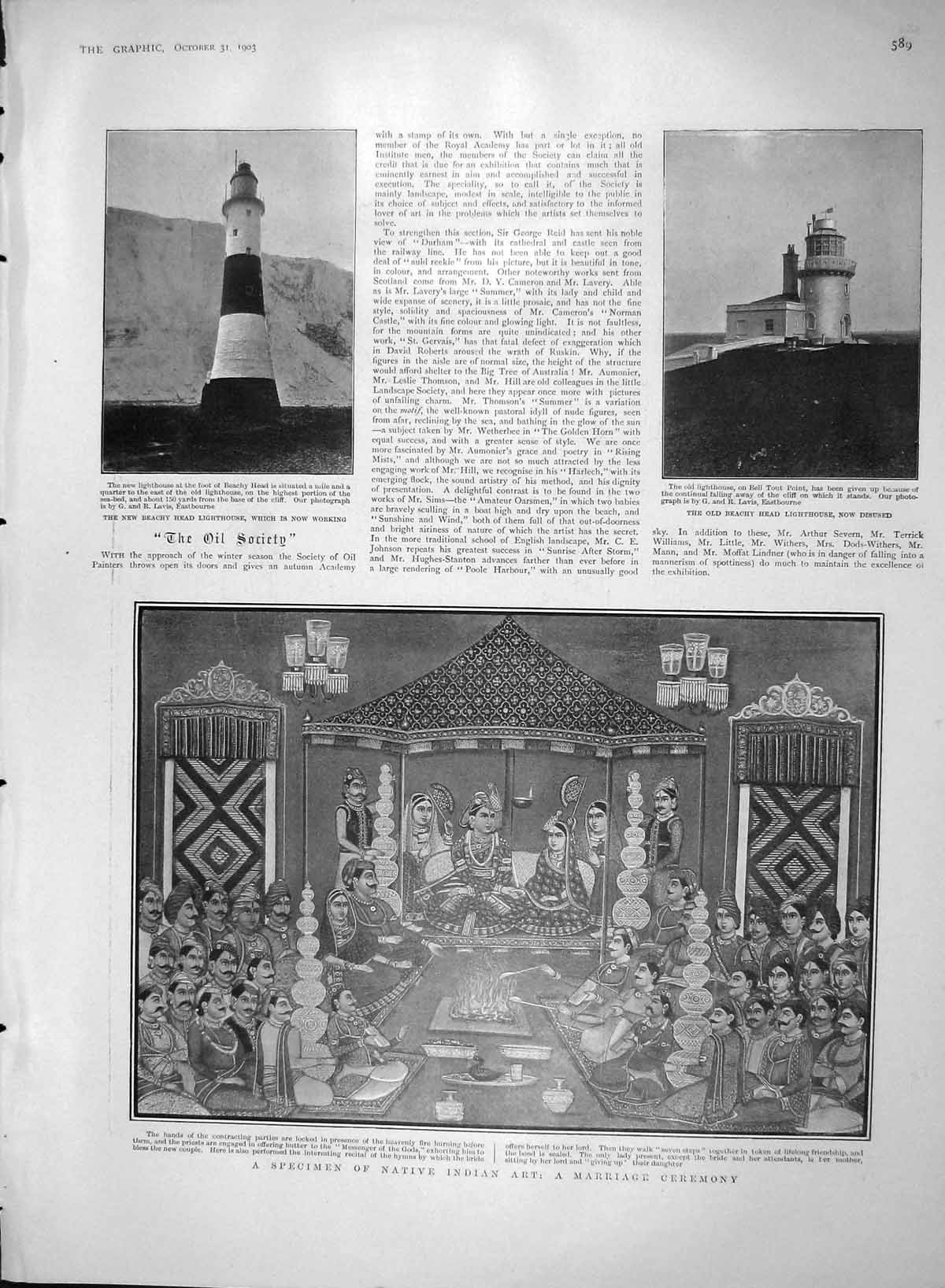 [Print 1903 Indian Art Marriage Beachy Lighthouse Theatre 589M168 Old Original]