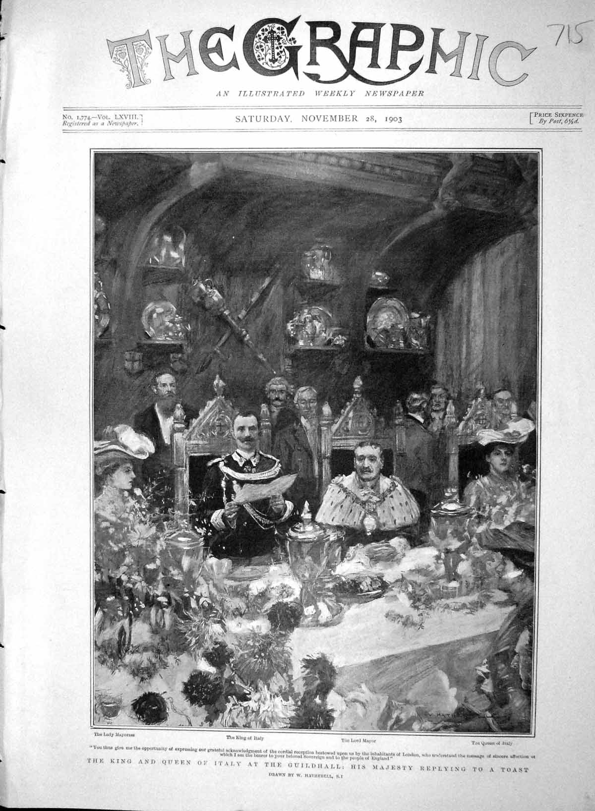 [Print 1903 King Queen Italy Guildhall Lord Mayor Mayoress 715M168 Old Original]