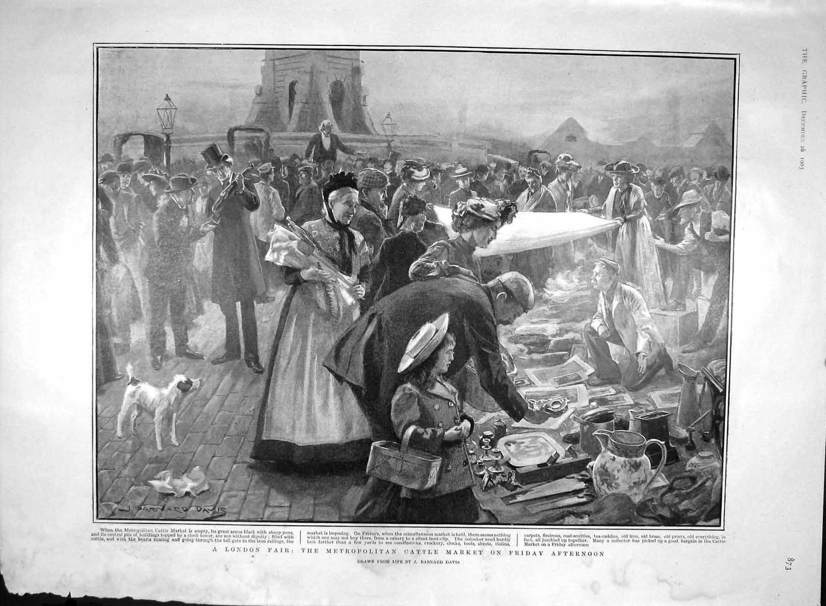 [Print 1903 London Fair Cattle Market Lord Harris Cricket Lady 873M168 Old Original]