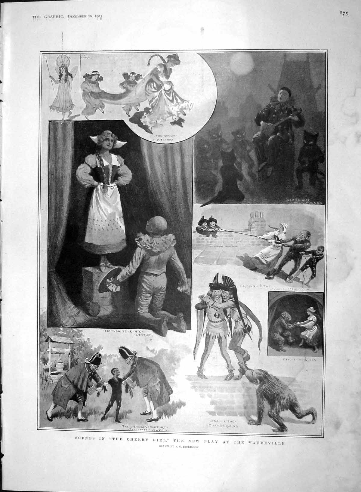 [Print 1903 Cherry Girl Theatre Vaudeville Norwegian Girl Ski 875M168 Old Original]