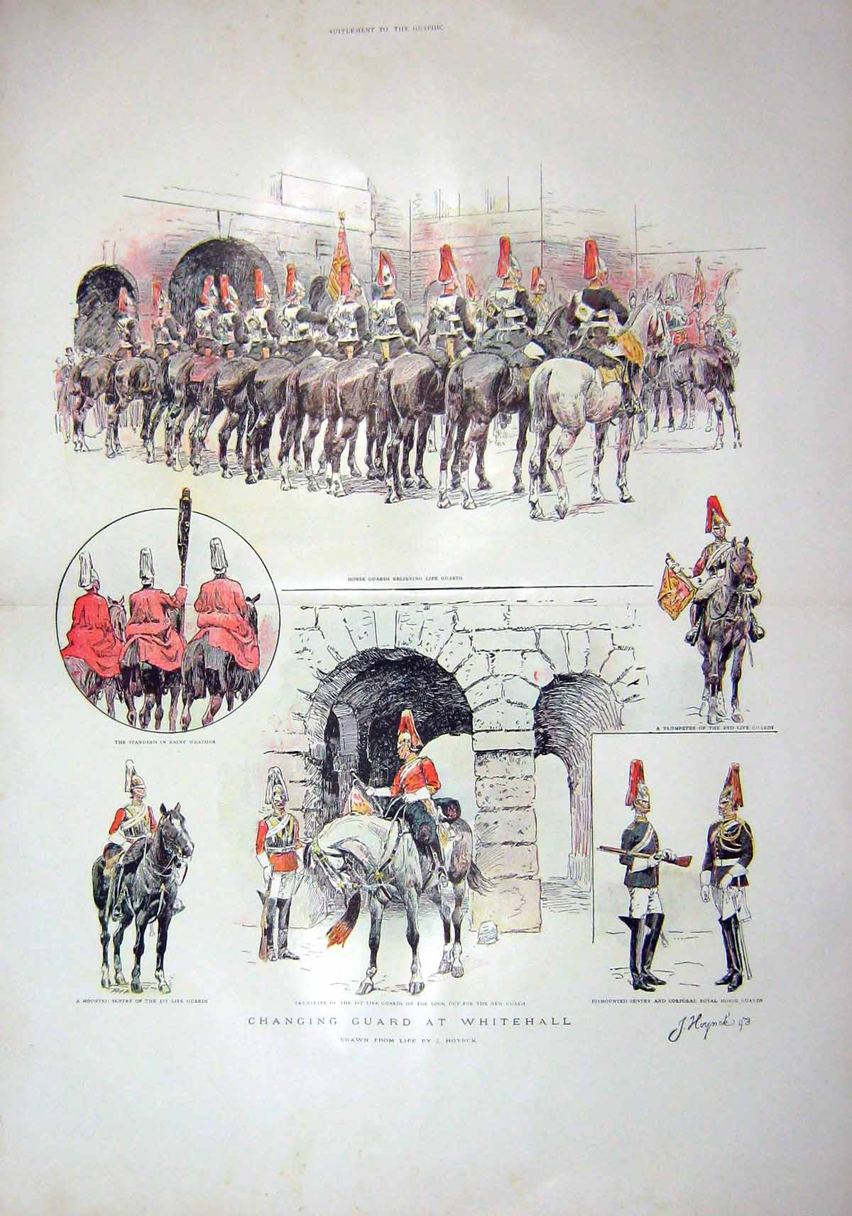 [Print 1903 Changing Horse Guard Whitehall Mounted Sentry 904Tm168 Old Original]