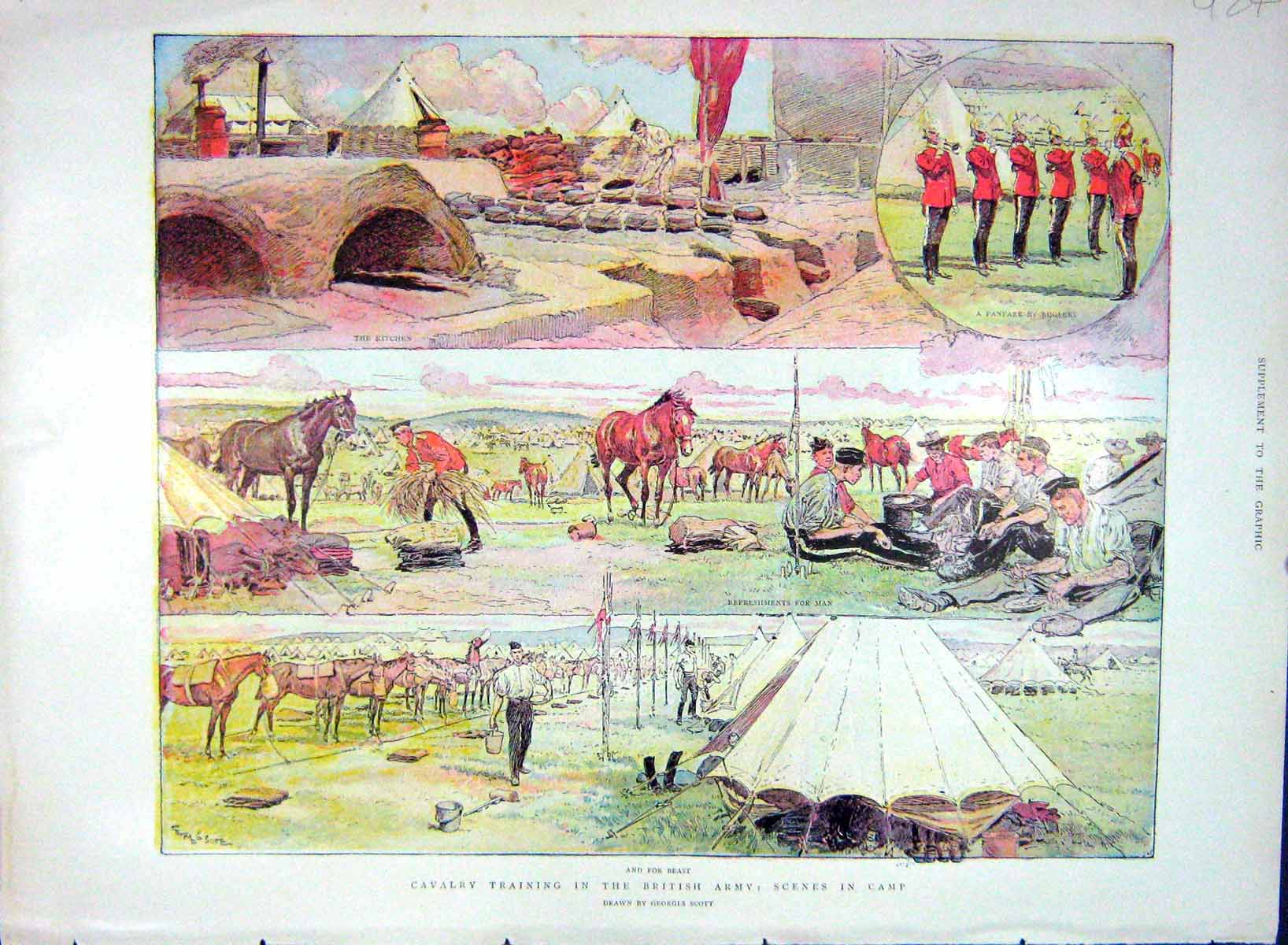 [Print 1903 Cavalry Training British Tower London Beefeaters 924M168 Old Original]