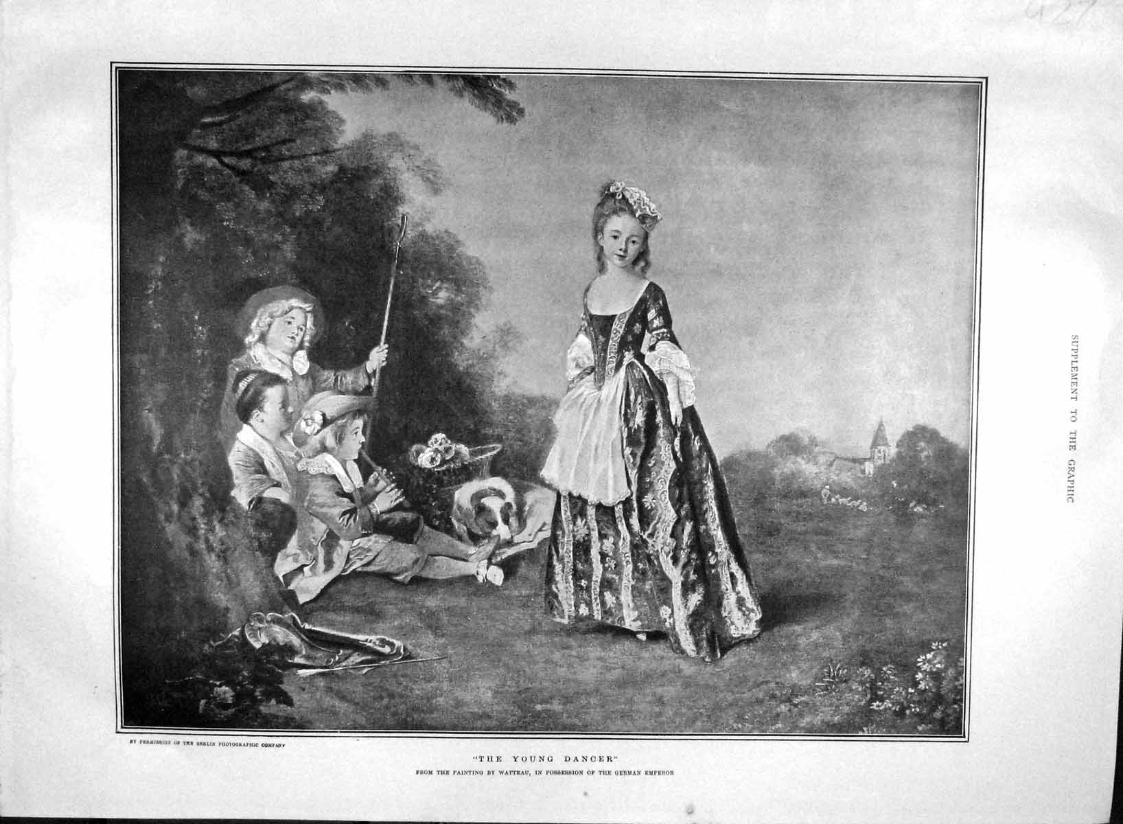 [Print 1903 Young Dancer Children Music Dog Countryside 927M168 Old Original]