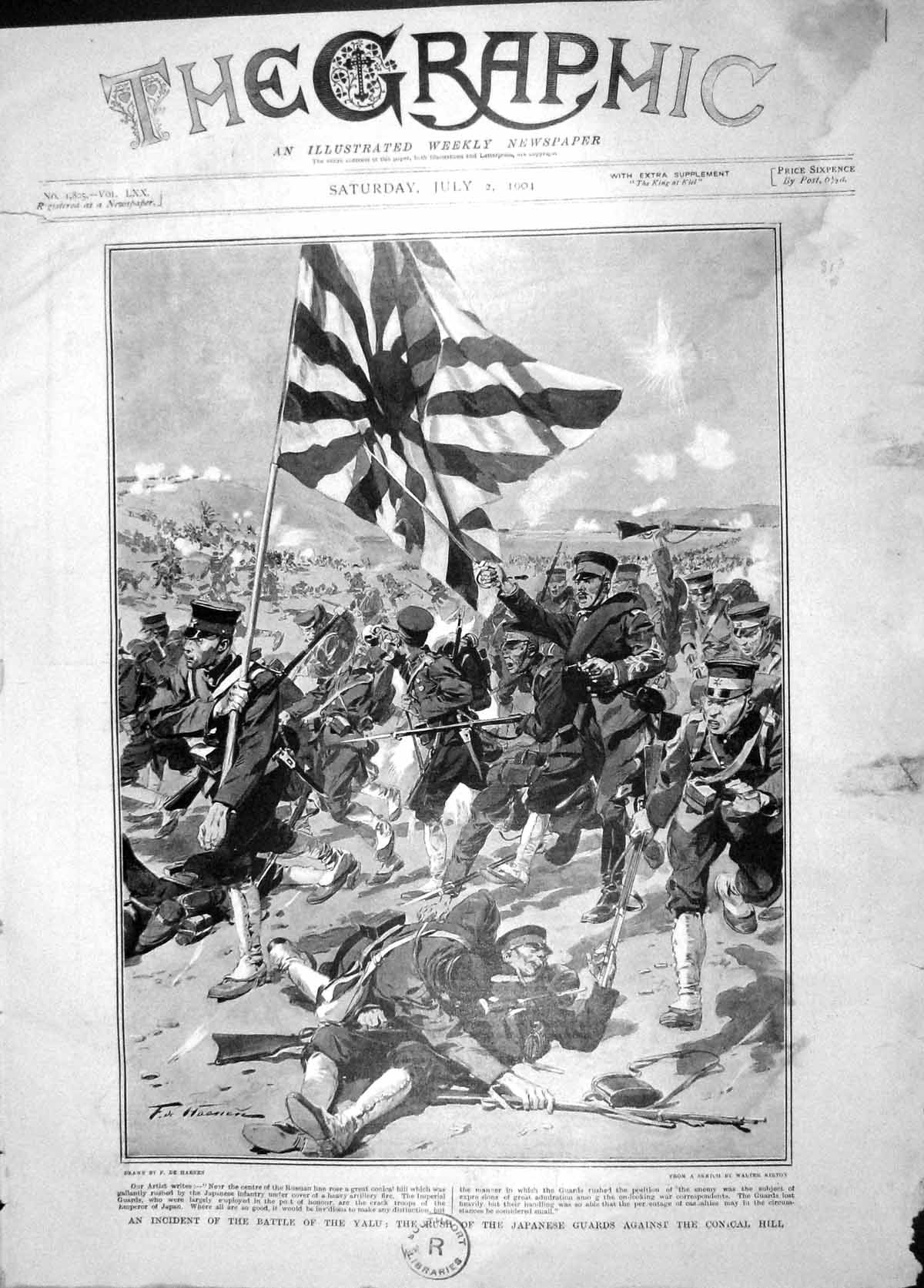[Print 1904 Battle Yalu War Japanese Soldiers Conical Hill 001M170 Old Original]