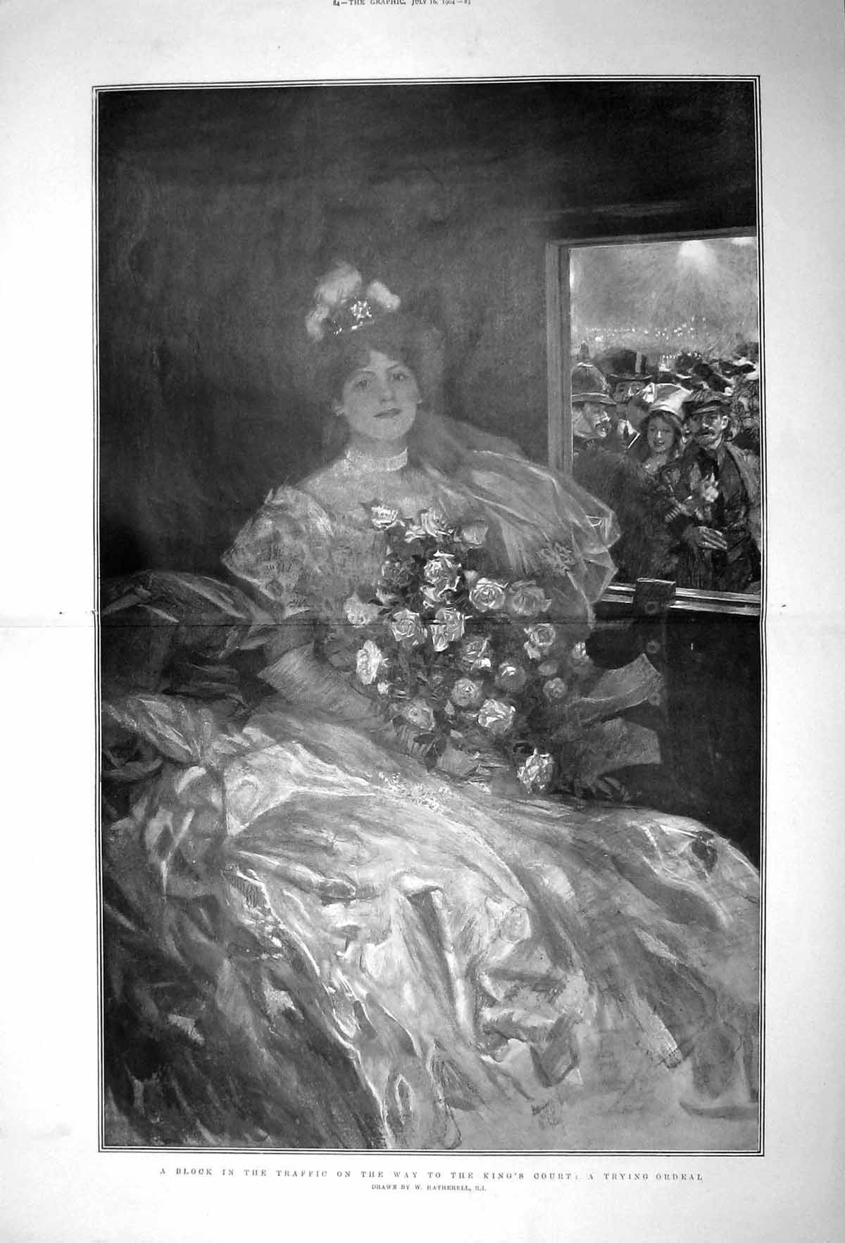 [Print 1904 Lady Flowers Carriage Traffic Jam King'S Court 083Tm170 Old Original]