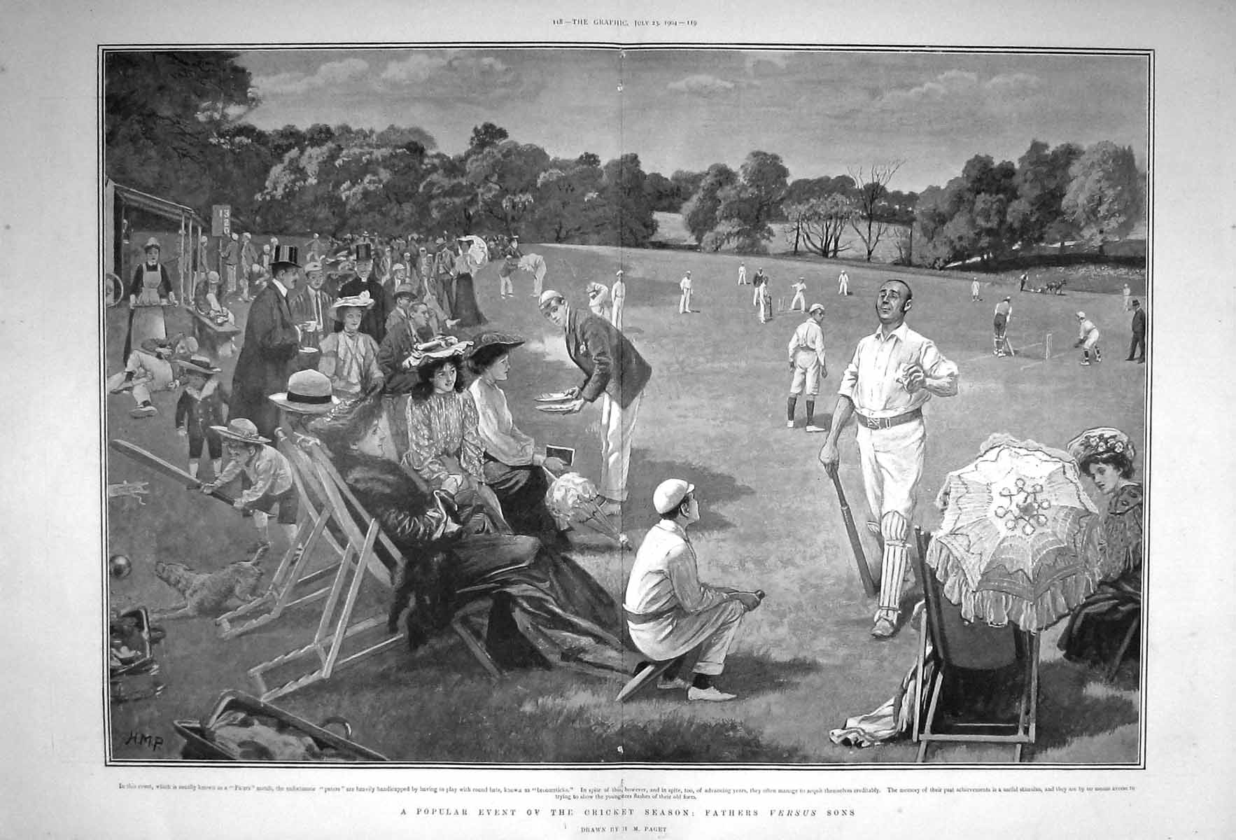 [Print 1904 Cricket Season Sport Fathers Versus Sons Paget 117Tm170 Old Original]