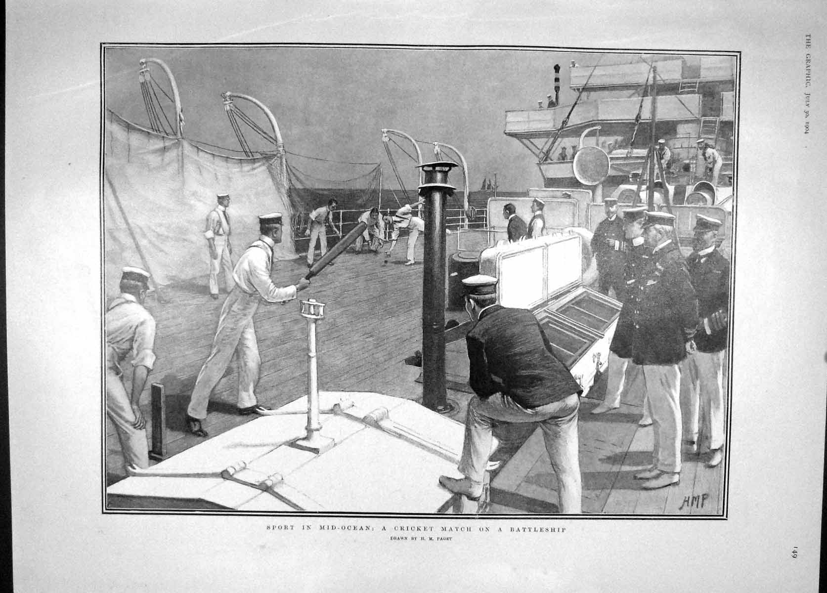 [Print 1904 Cricket Match Battle Ship Formosa Ardova Hipsang 149M170 Old Original]