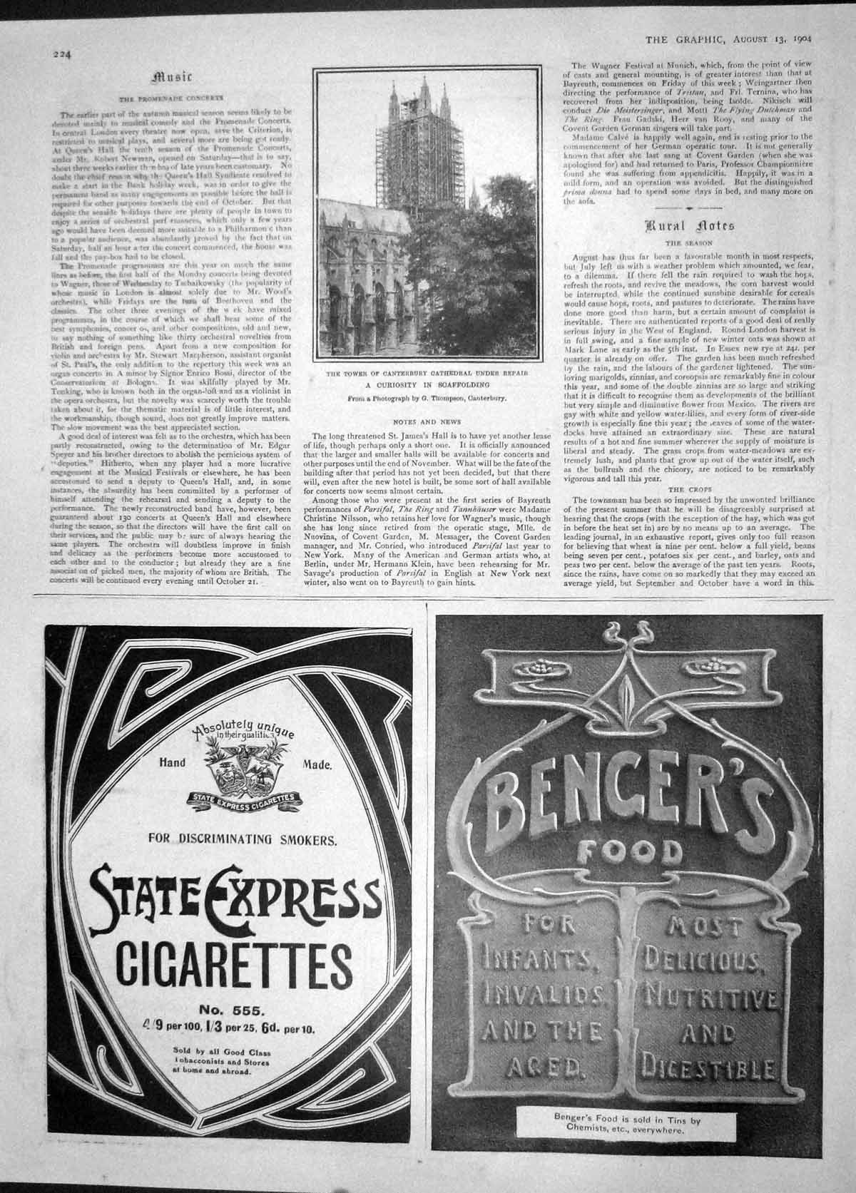[Print 1904 Tower Canterbury Cathedral Cigarettes Bengers Food 224M170 Old Original]