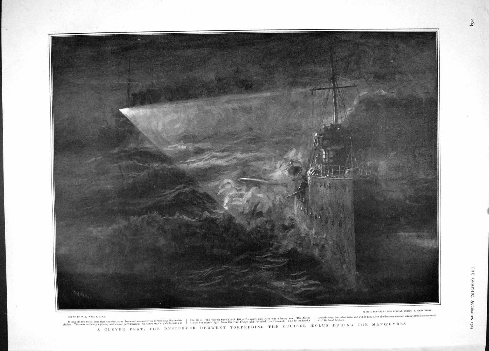 [Print 1904 Destroyer Ship Derwent Aeolus War Titian Ariosta 264M170 Old Original]