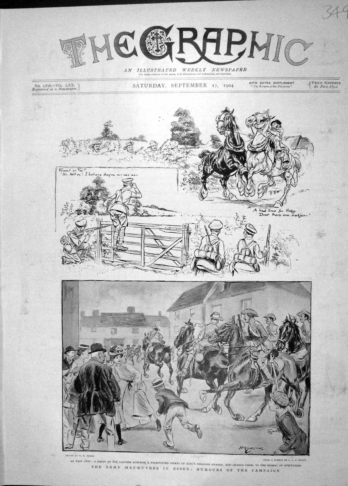 [Print 1904 Army Manoeuvres Essex Lancers War Dragoon Guards 349M170 Old Original]