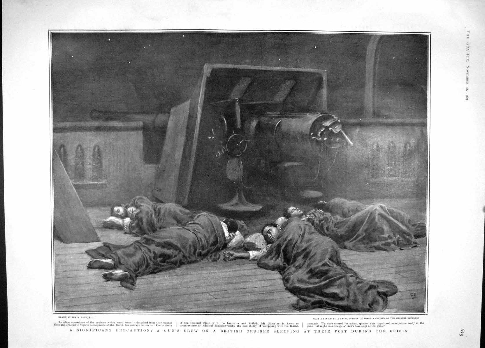 [Print 1904 Ship Vigo Crew Sleeping Gun War Roosevelt Parker 625M170 Old Original]