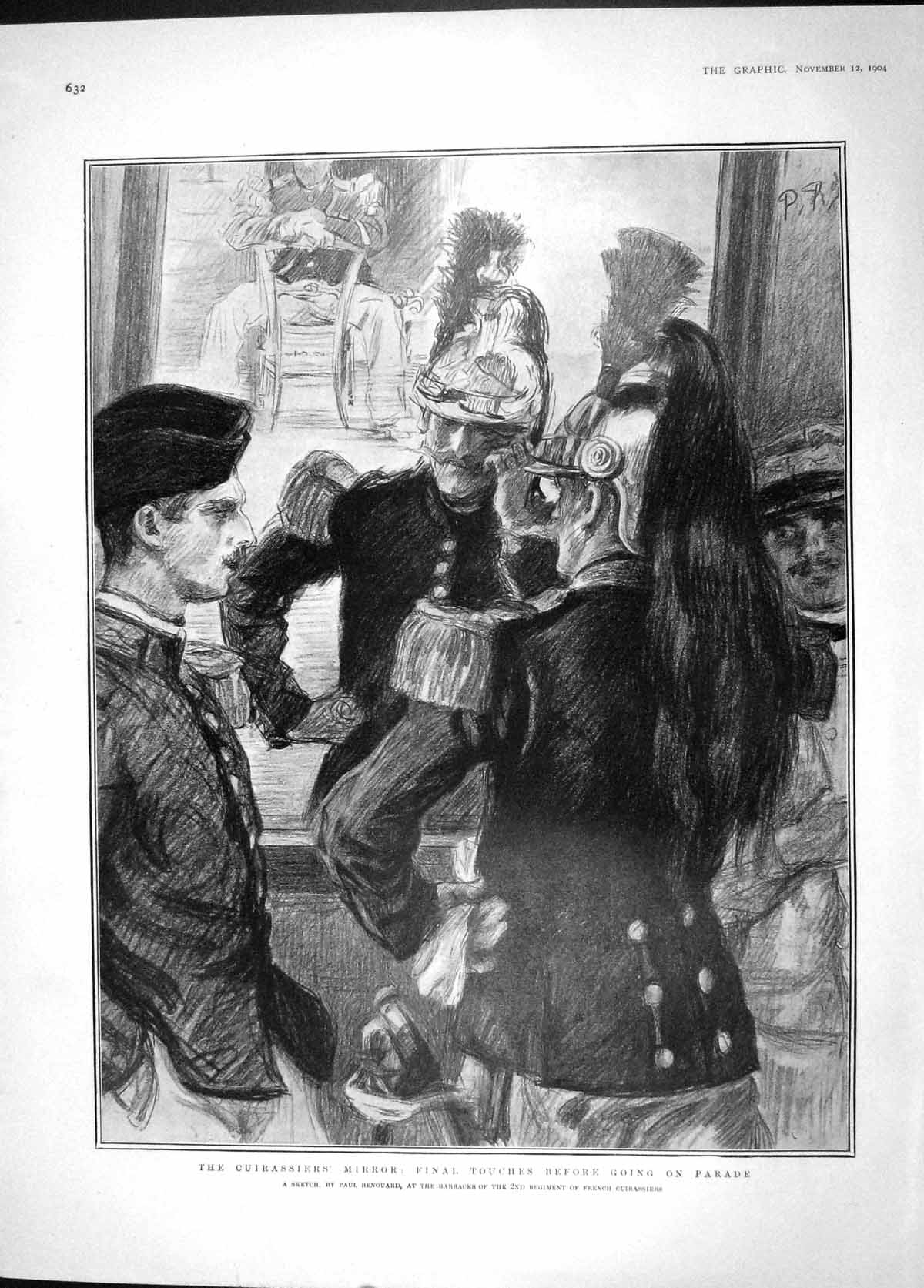[Print 1904 Cuirassiers Mirror Uniform Penguin Crozier Scott 632M170 Old Original]