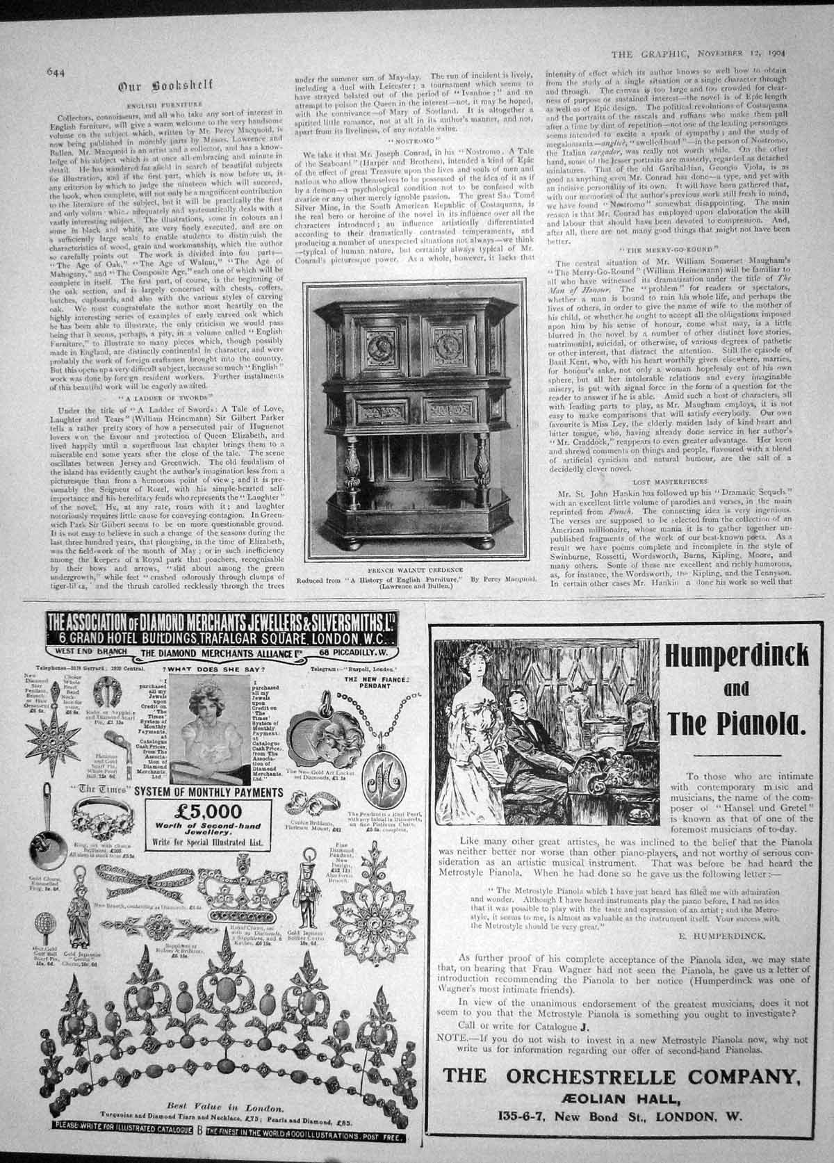 [Print 1904 French Walnut Credence Pianola Orchestrelle 644M170 Old Original]