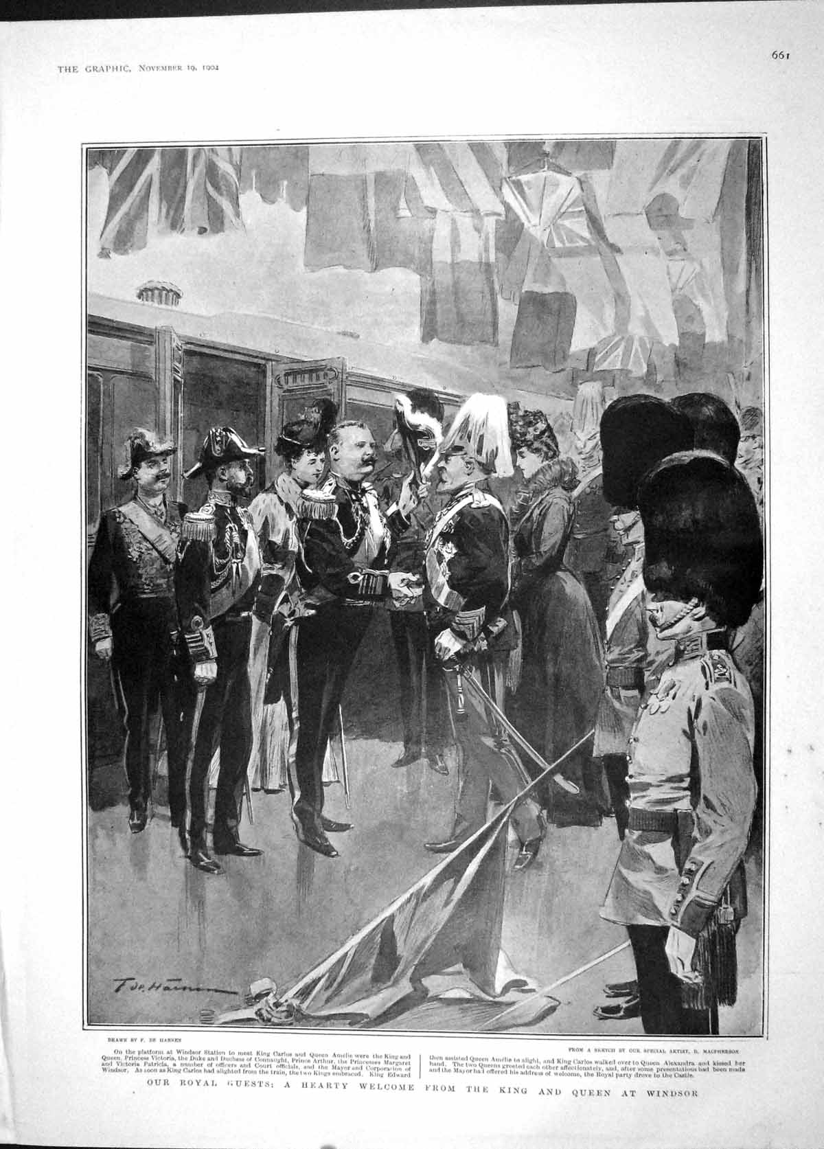 [Print 1904 King Carlos Queen Windsor Duke Train King Portugal 661M170 Old Original]