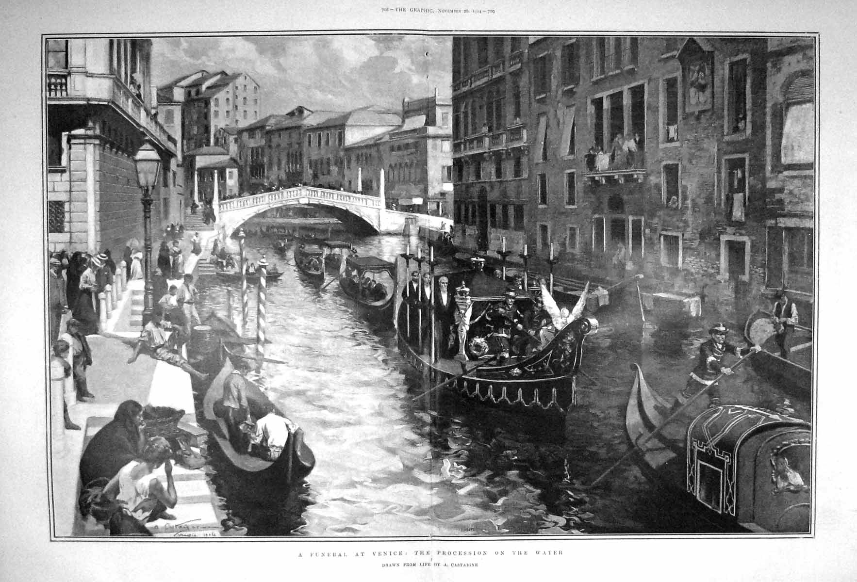 [Print 1904 Funeral Scene Venice Procession Boats Canal Italy 707Tm170 Old Original]