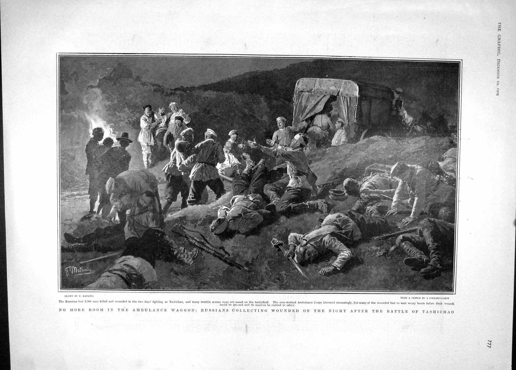 [Print 1904 Ambulance Waggon Battle Tashichao War Quirinal 777M170 Old Original]