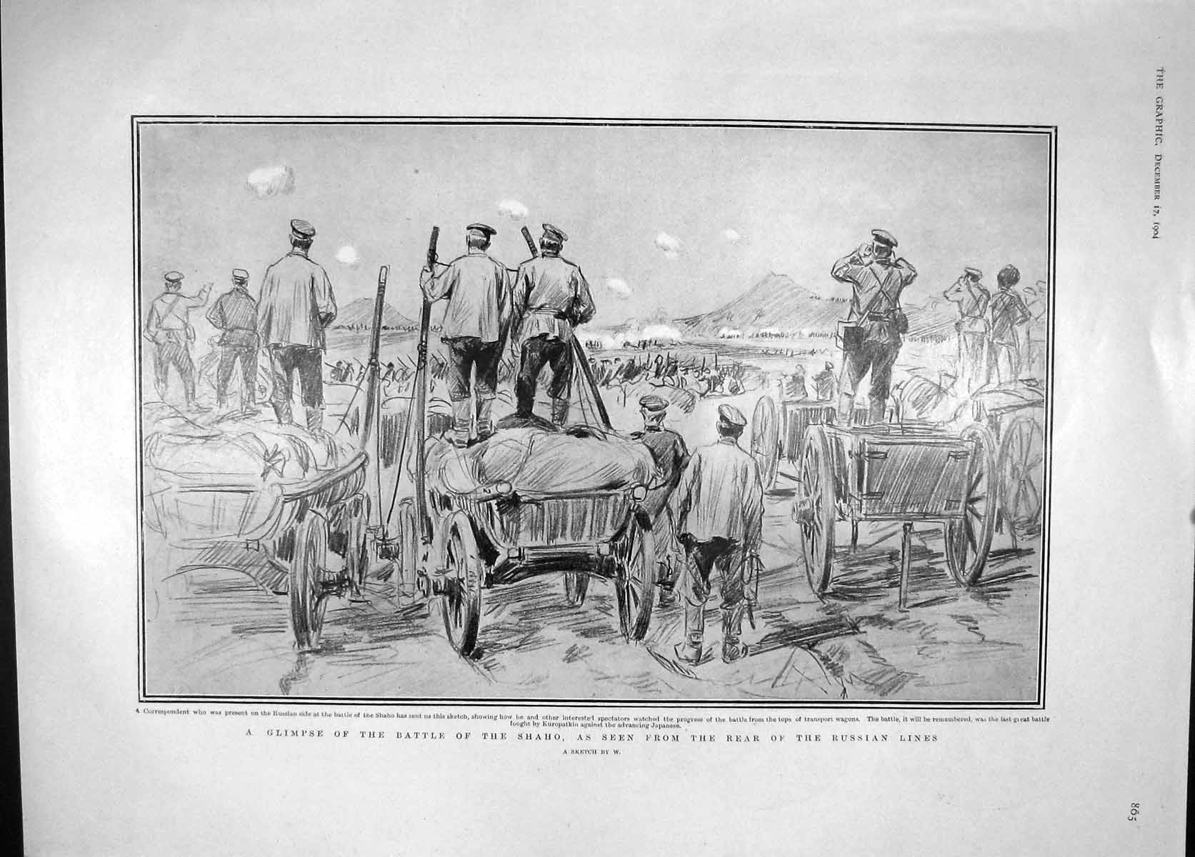 [Print 1904 War Battle Shaho Russian Army Lane Craig Rayleigh 805M170 Old Original]