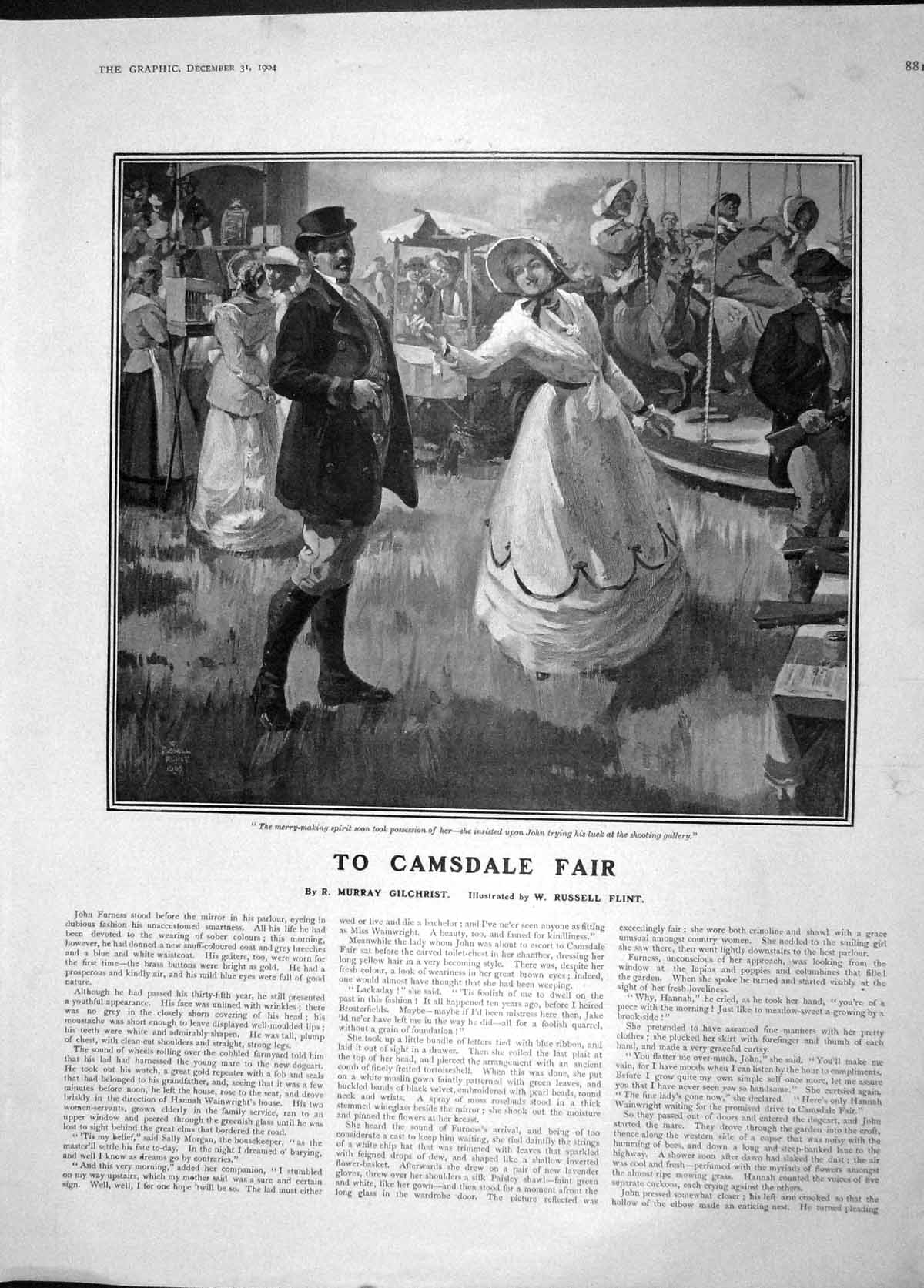 [Print 1904 Camsdale Fair Merry-Making People Amusements 881M170 Old Original]