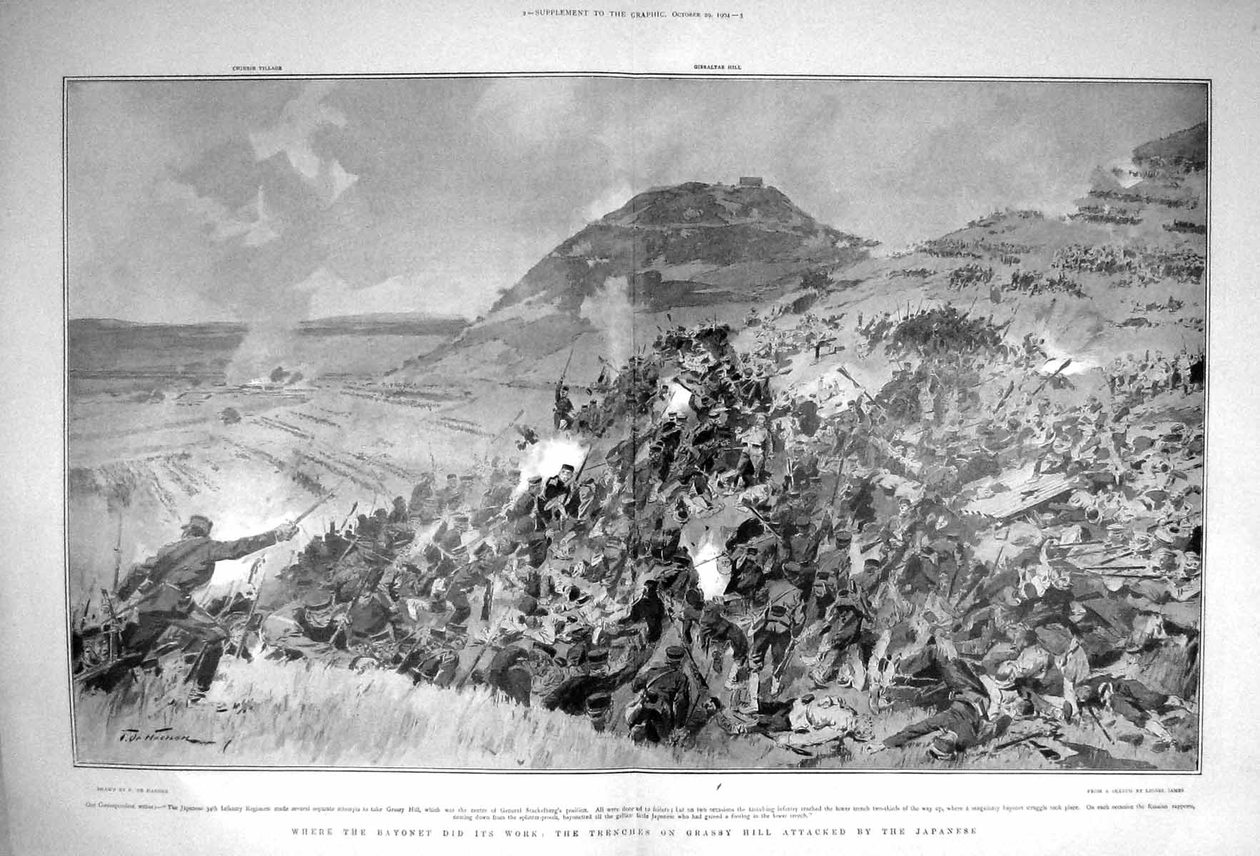 [Print 1904 War Trenches Grassy Hill Japanese Soldiers Japan 909Tm170 Old Original]