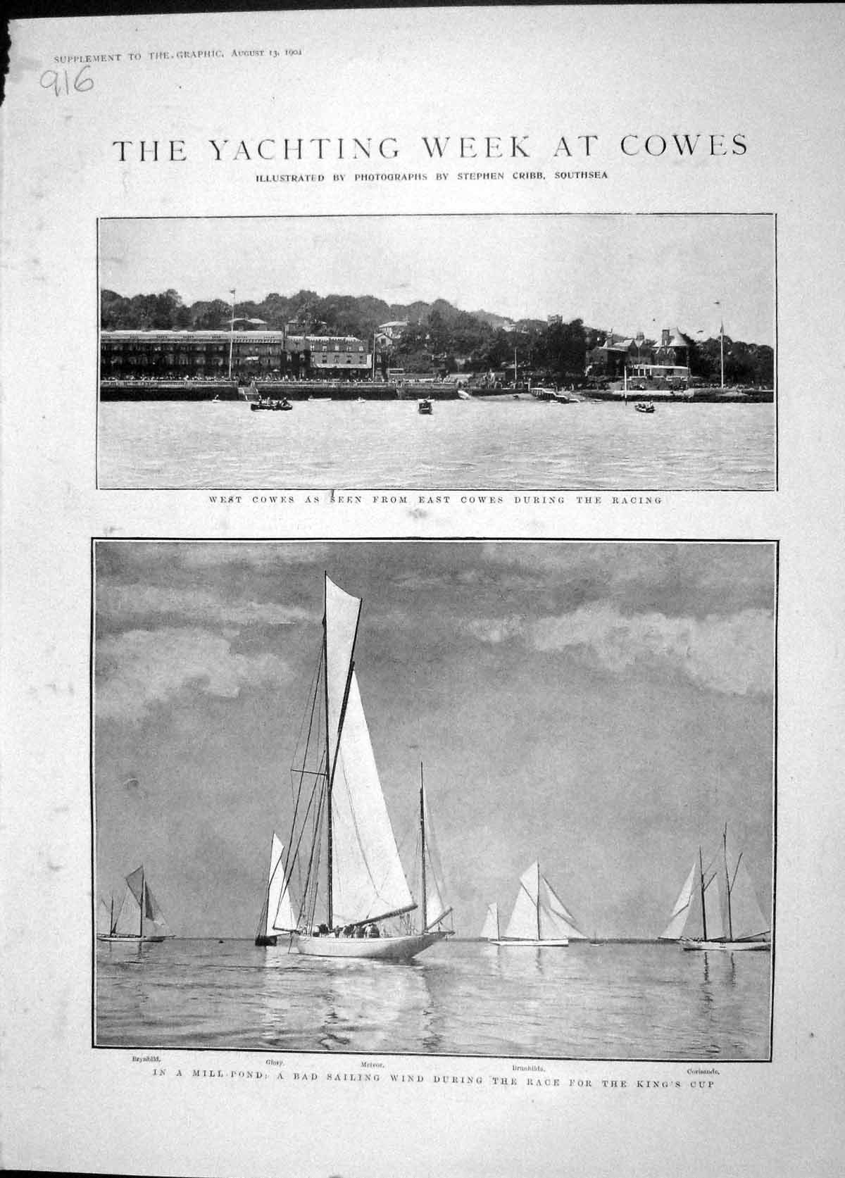 [Print 1904 Yachts Cowes Glory Meteor King'S Cup Brunhilda 916M170 Old Original]