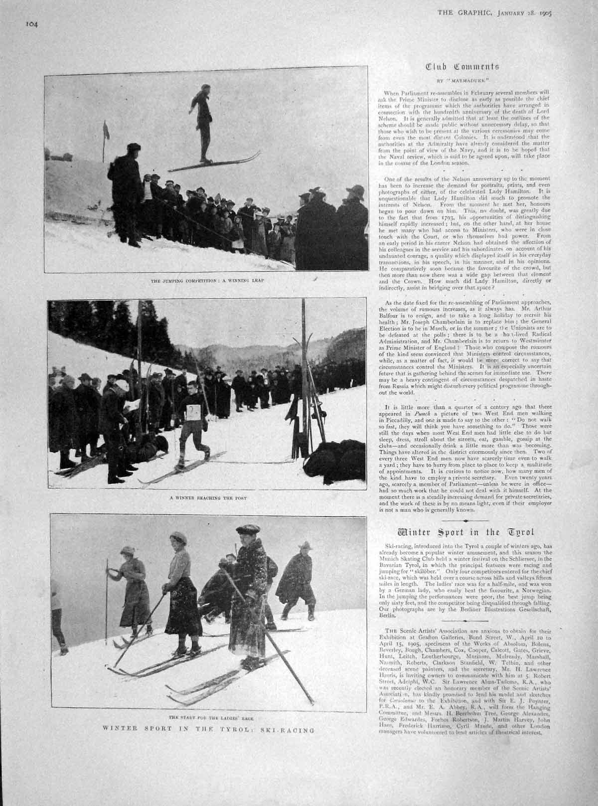 [Print 1905 Winter Sport Tyrol Ski-Racing Reid Norway Loenvand 104M171 Old Original]